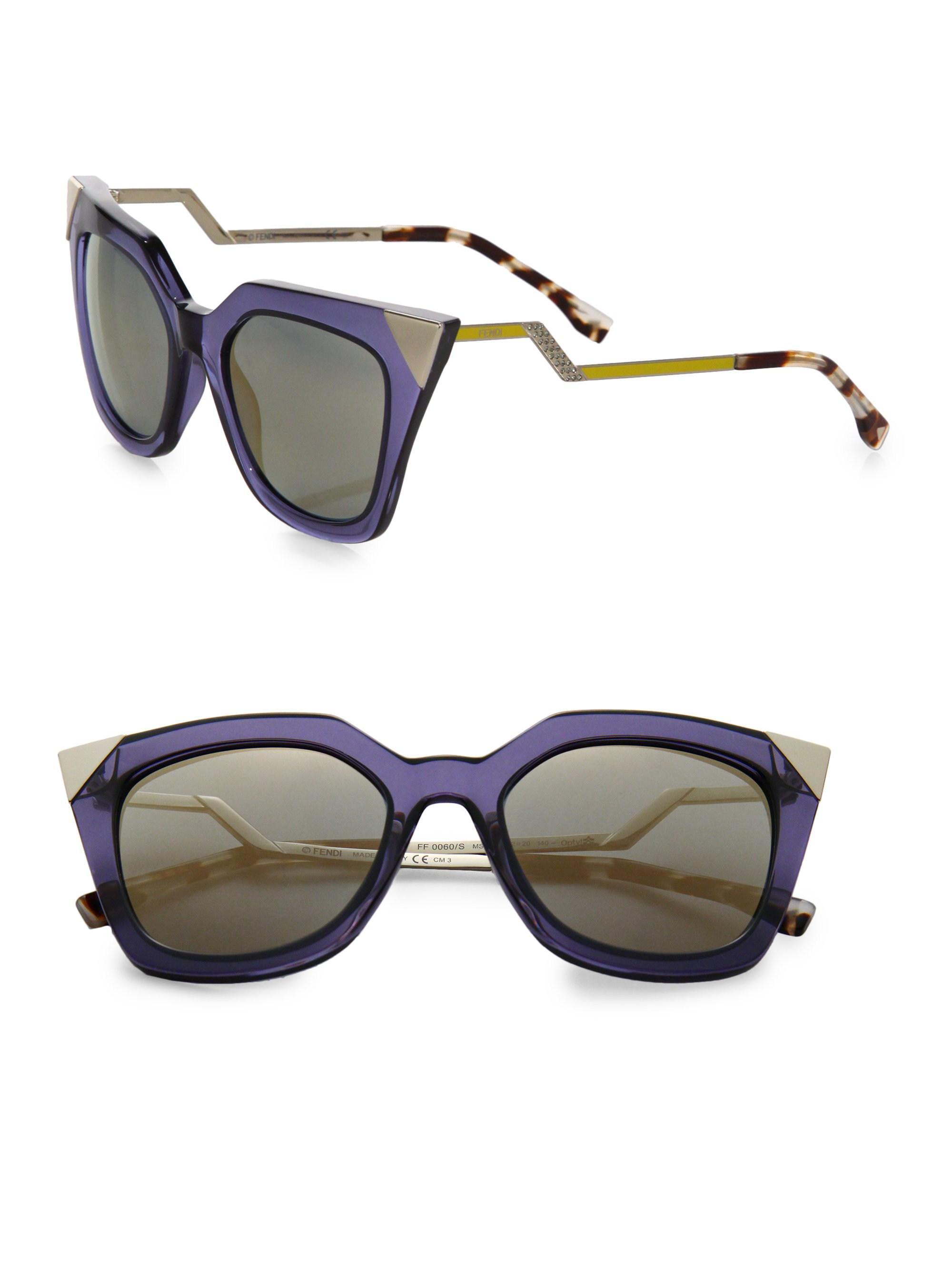 982718901e7 Lyst - Fendi Zig-zag 52mm Cat Eye Sunglasses - Black in Blue