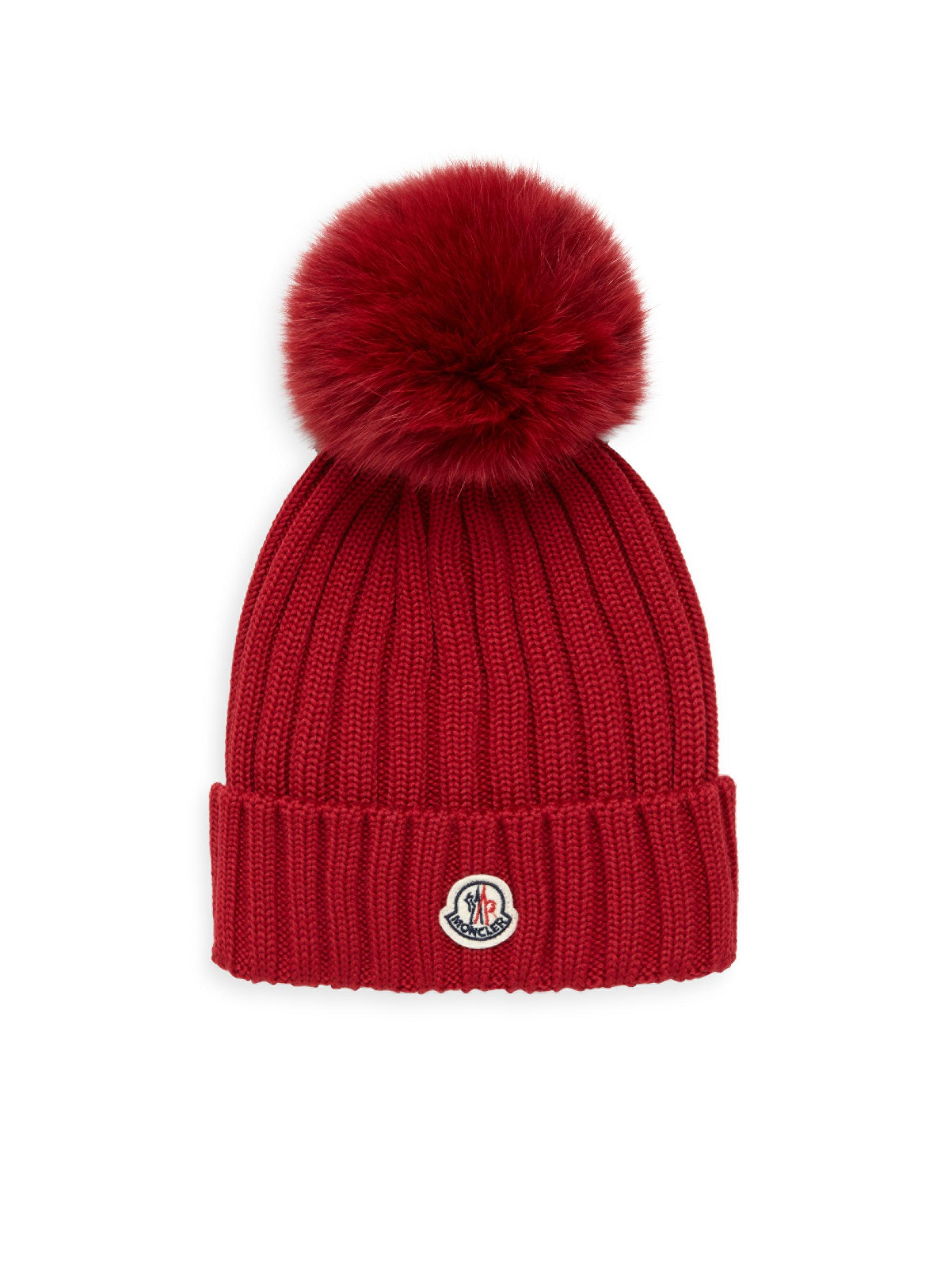 Moncler Berretto Fur Pom Hat in Red - Lyst 5bc5e1d8bb99