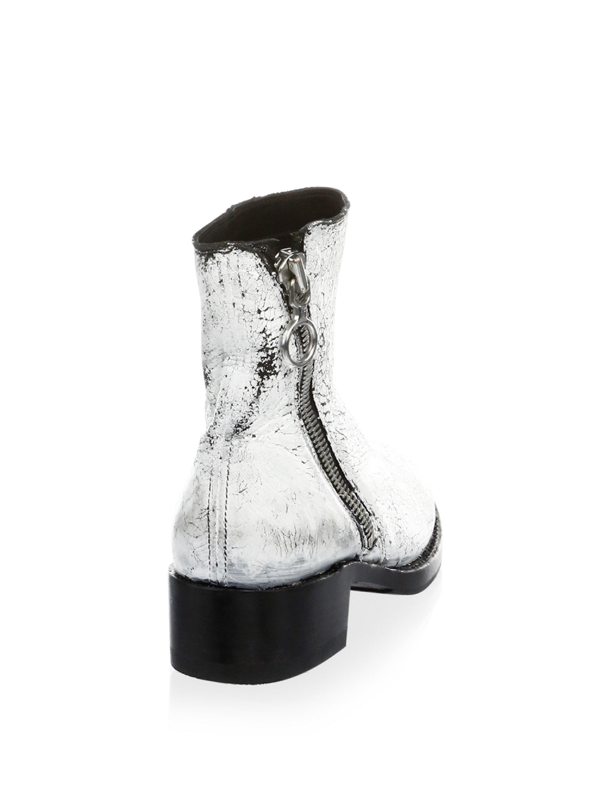 Frye Crackle Paint Patent Leather Booties cHAvjE