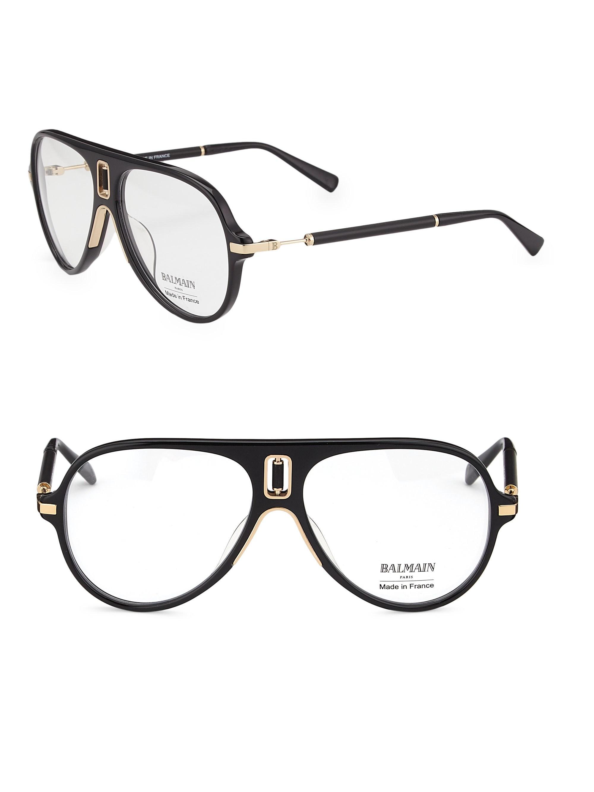 7e8d7164b Balmain 61mm Acetate Aviator Optical Glasses in Black for Men - Lyst