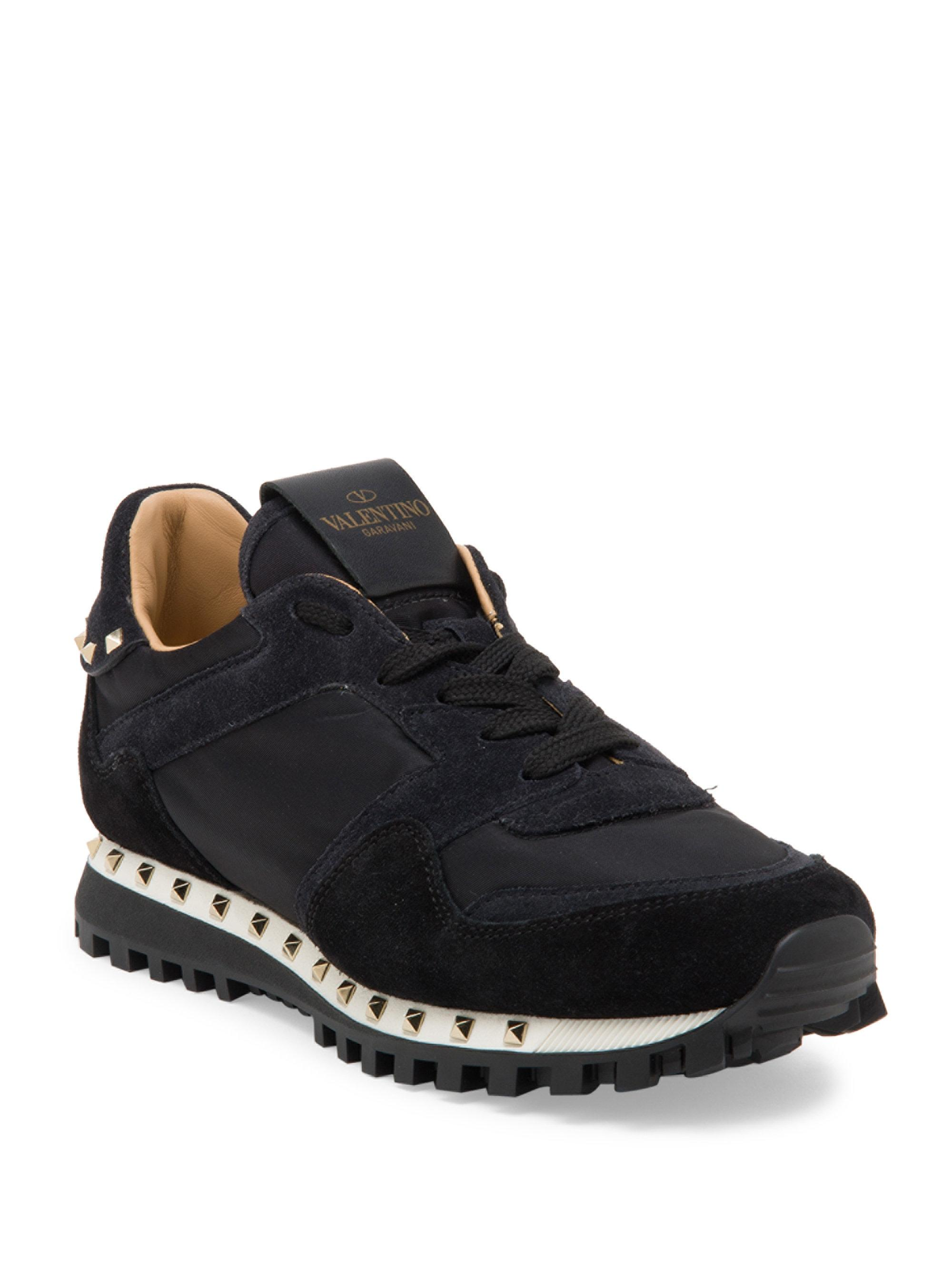 Valentino Women S Women S Studded Suede Sneakers Black