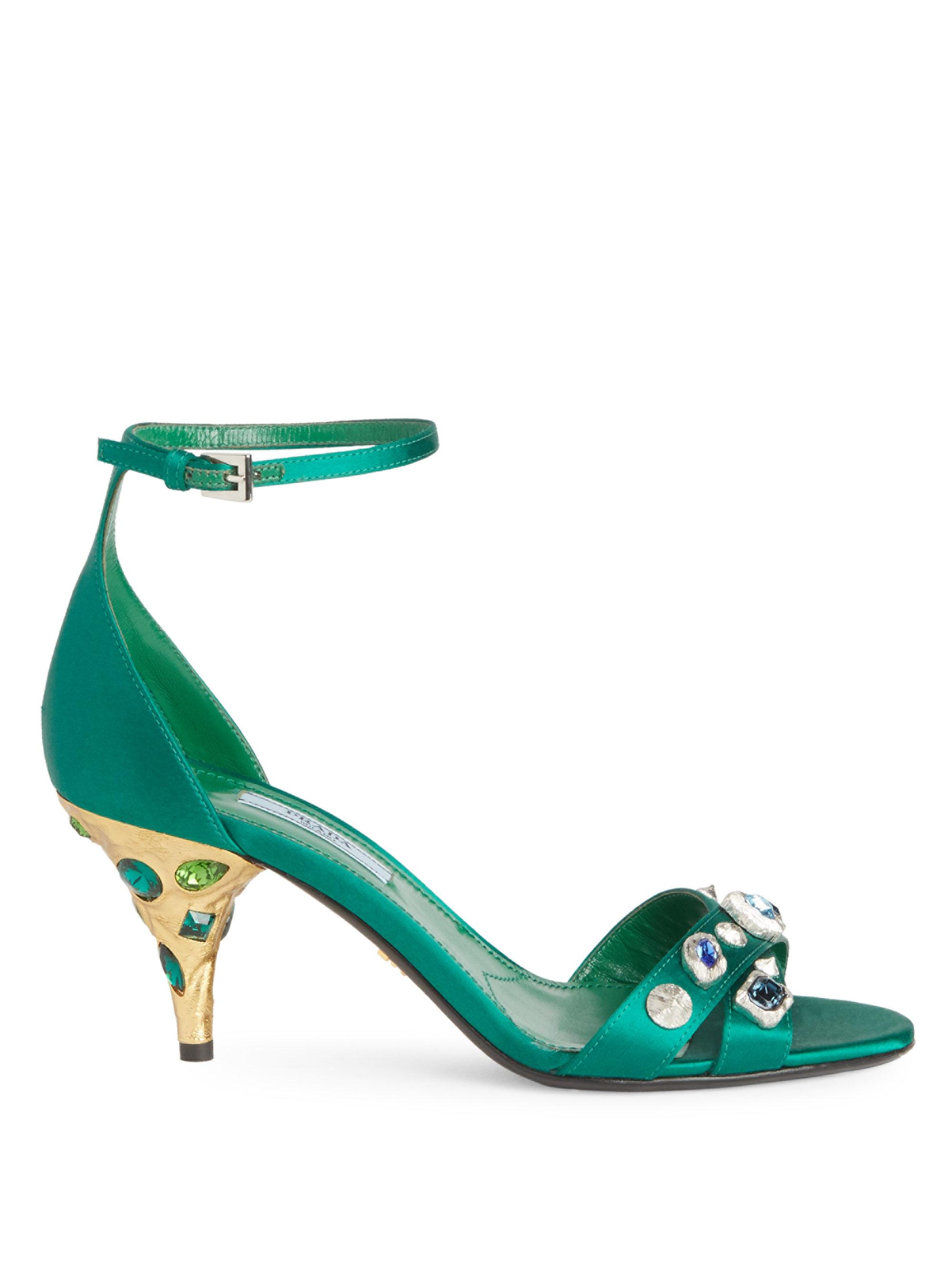 4c1c03f2b346 Prada Jeweled Satin Ankle-strap Sandals in Green - Lyst