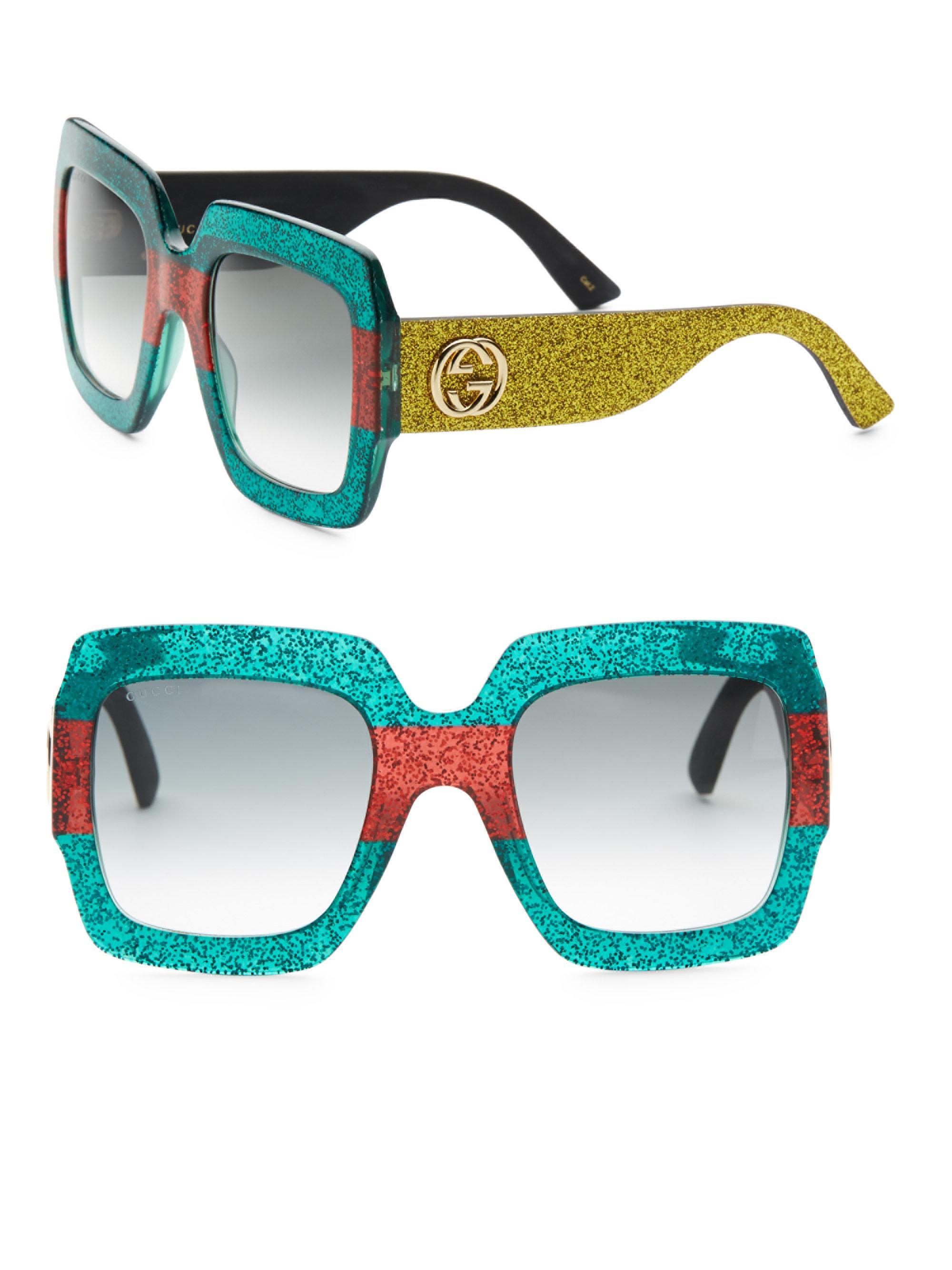 b1714915136 Gucci Women s 54mm Glitter Stripe Square Sunglasses - Lyst