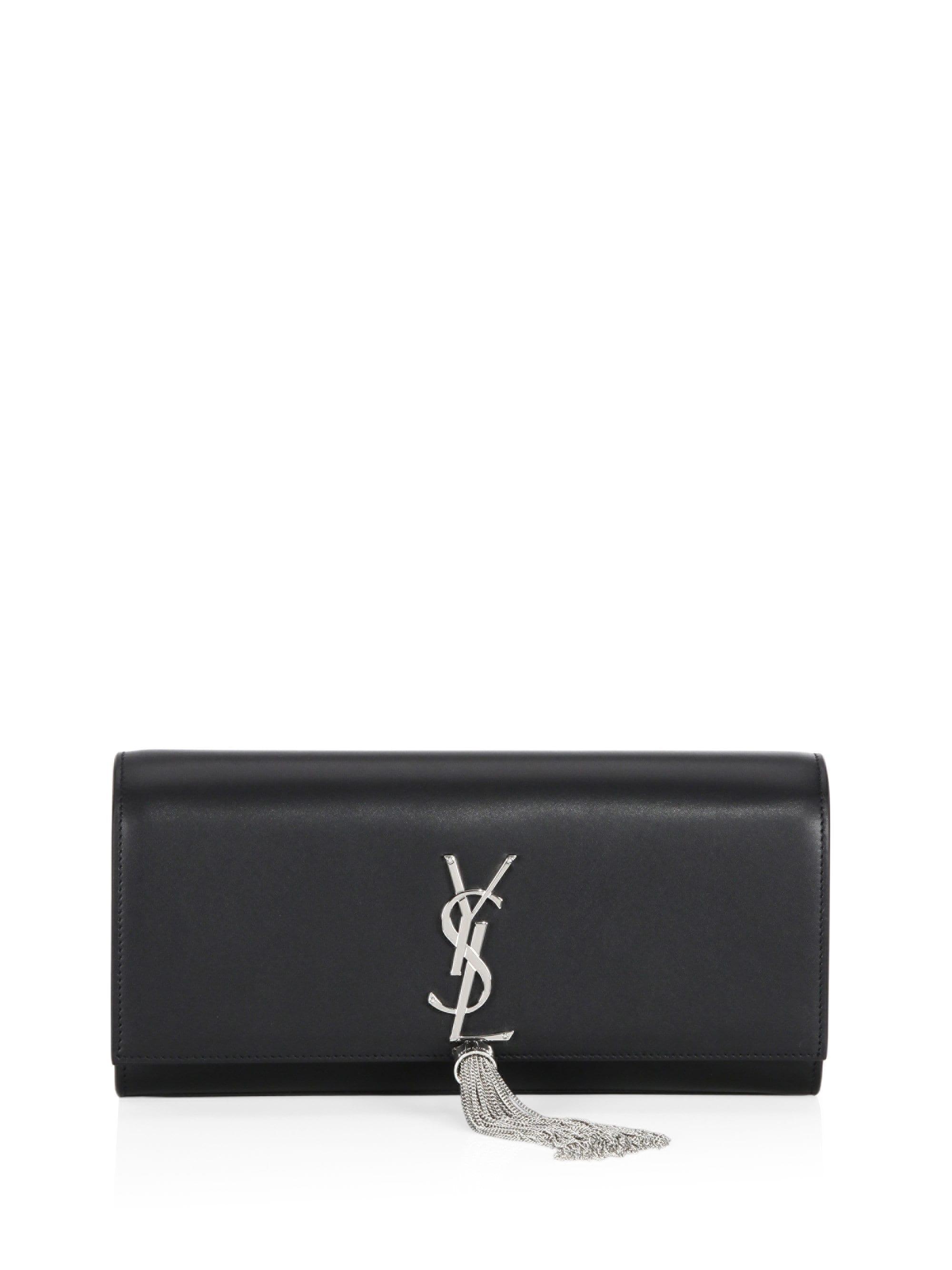 Lyst - Saint Laurent Small Kate Monogram Leather Tassel Clutch in Black 053620e97b3a9