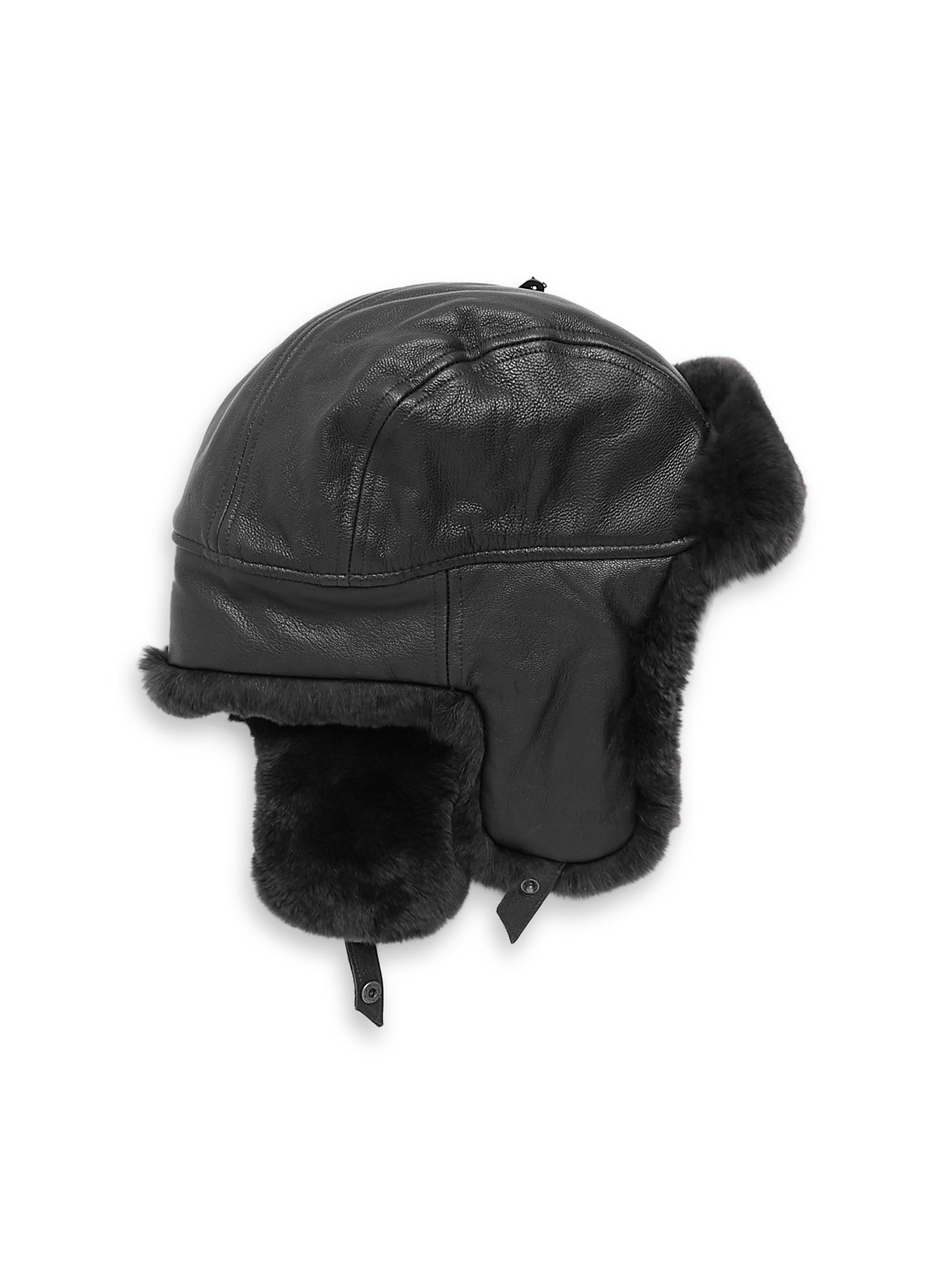 746a83bddcbee Crown Cap Sheared Rabbit Aviator Hat in Black for Men - Lyst