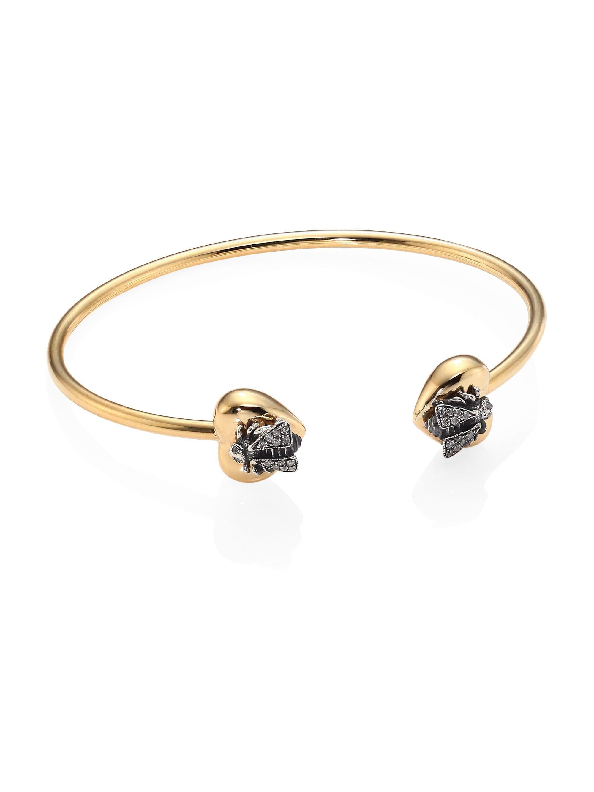 6fd8a7e9350 Gucci. Women s Metallic Le Marché Des Merveilles Grey Diamond   18k Yellow  Gold Bangle Bracelet