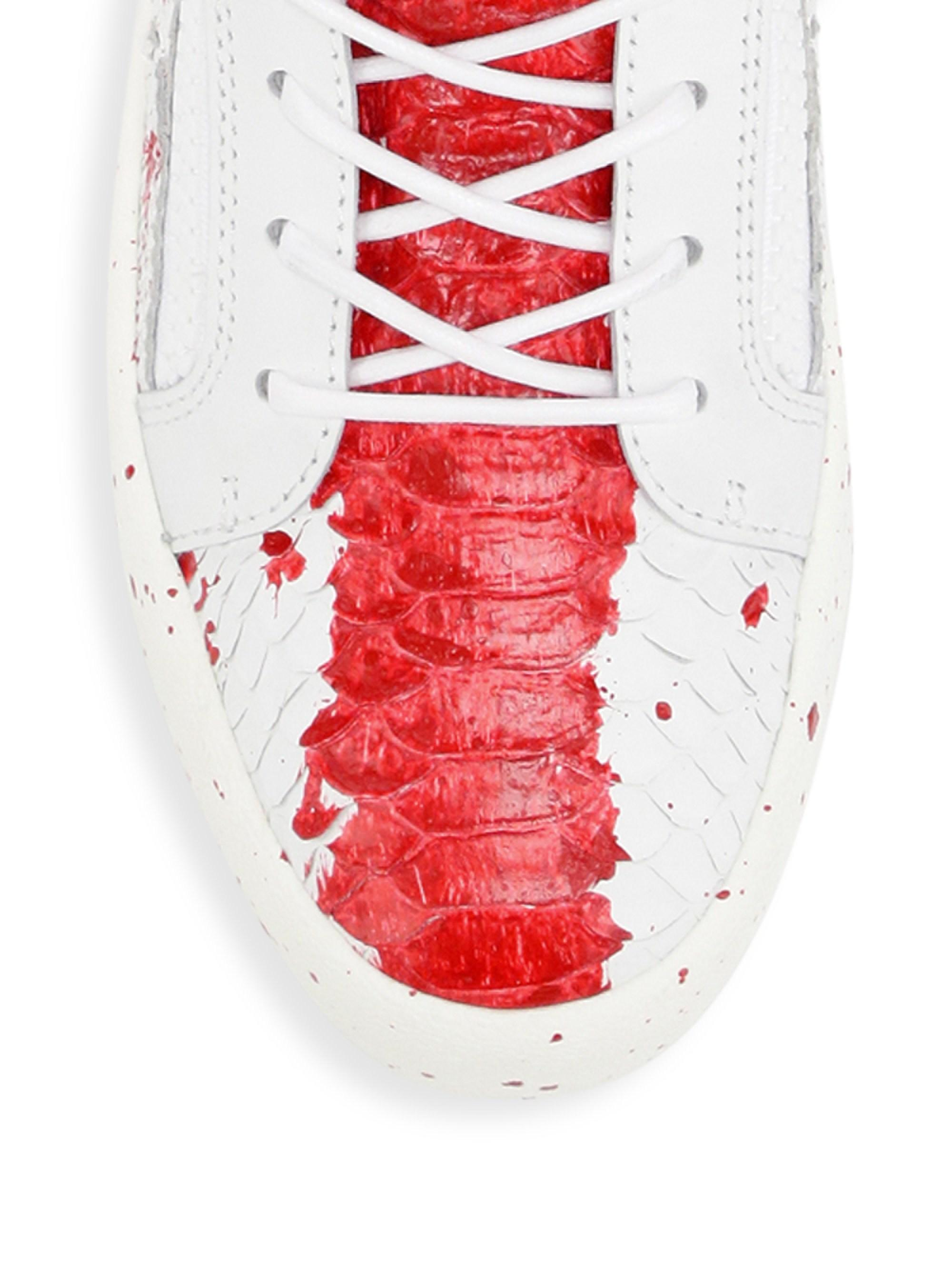 5fb86807d7 Giuseppe Zanotti Low-top Leather Splash Paint Sneakers for Men - Lyst