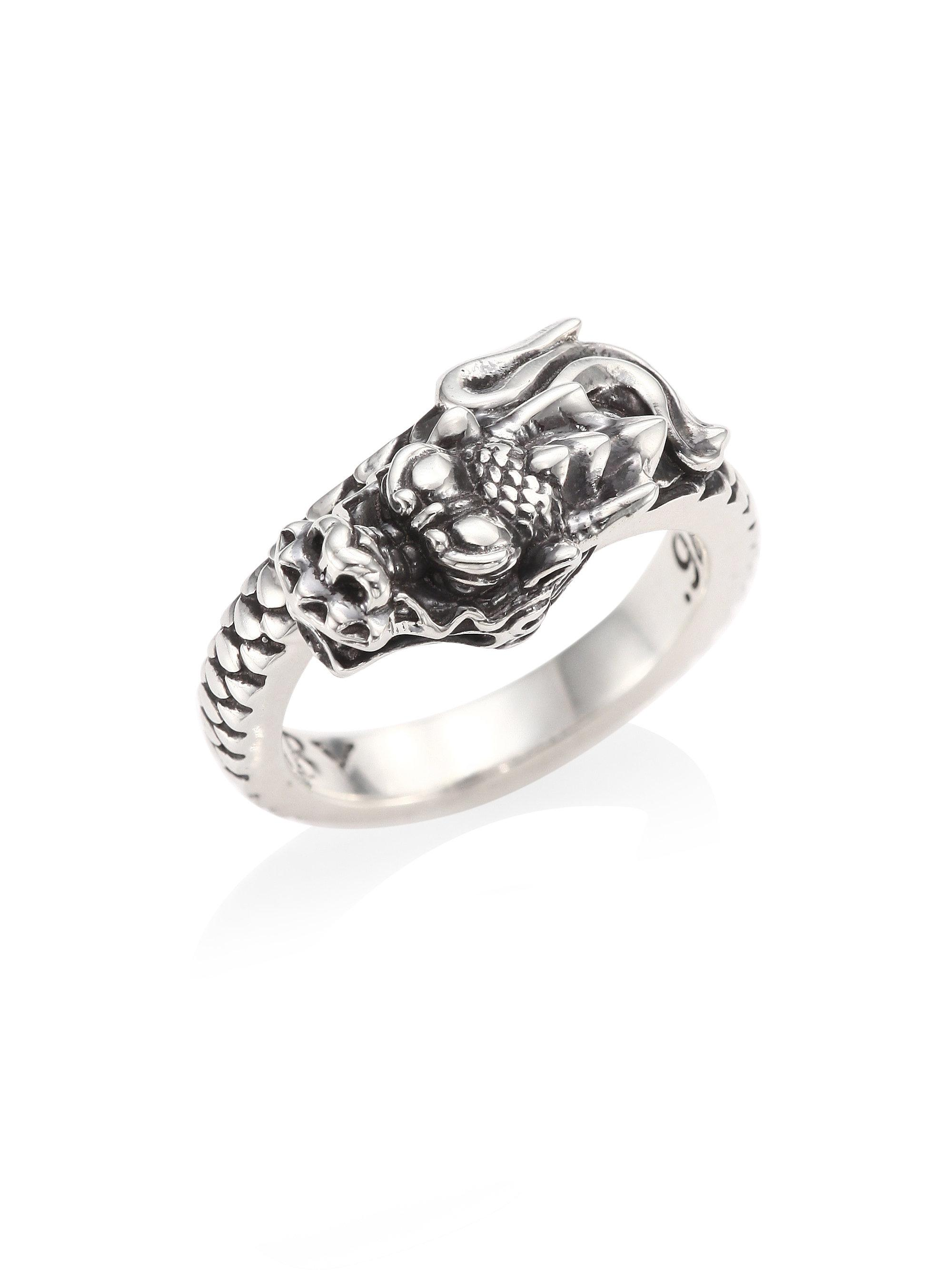 Lyst King baby studio Sterling Silver Dragon Coil Ring in Metallic