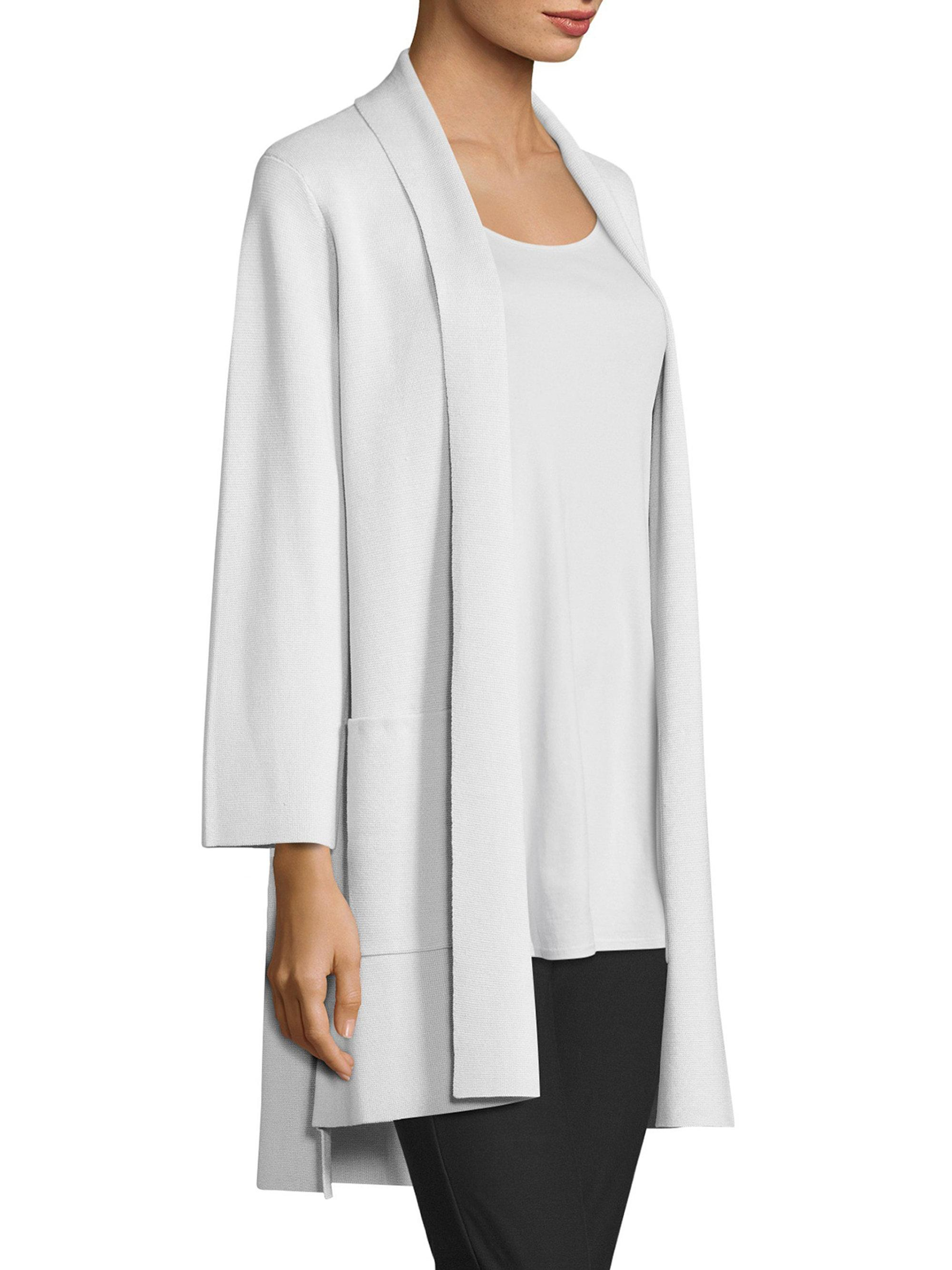 Eileen fisher Silk & Organic Cotton Kimono Cardigan in White | Lyst