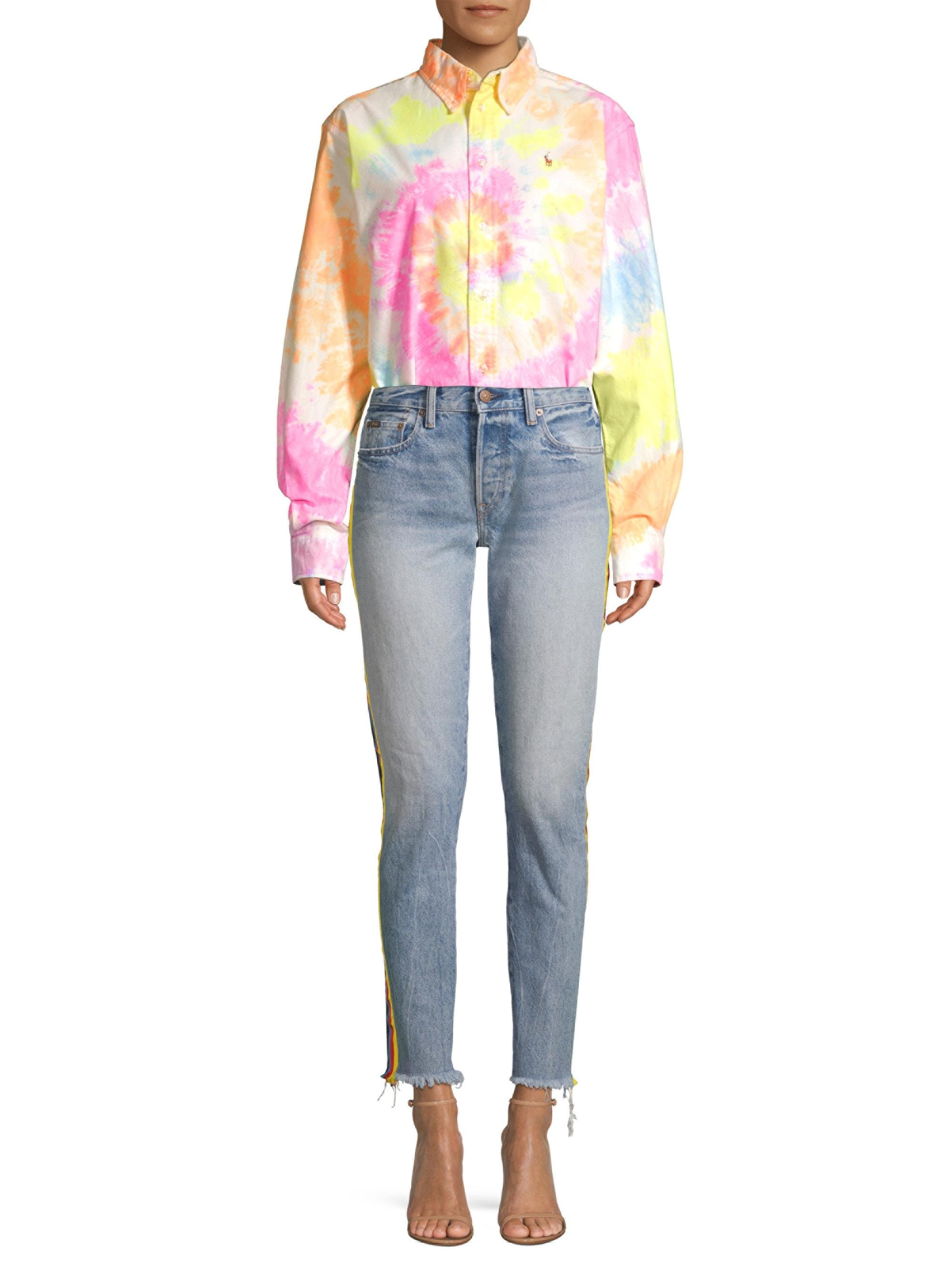 b72d8872 Polo Ralph Lauren Tie-dye Long-sleeve Shirt in Pink - Lyst