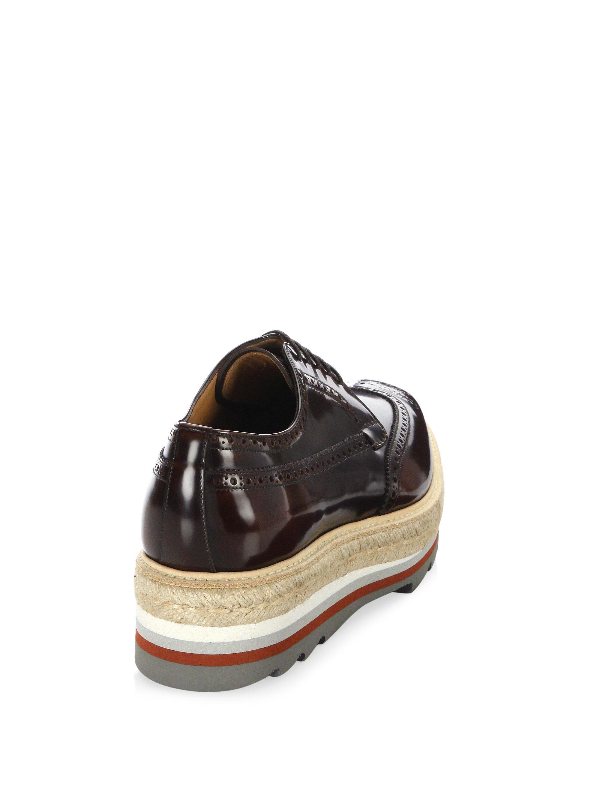 Prada Creeper Leather Platform Sneakers Oq6zg