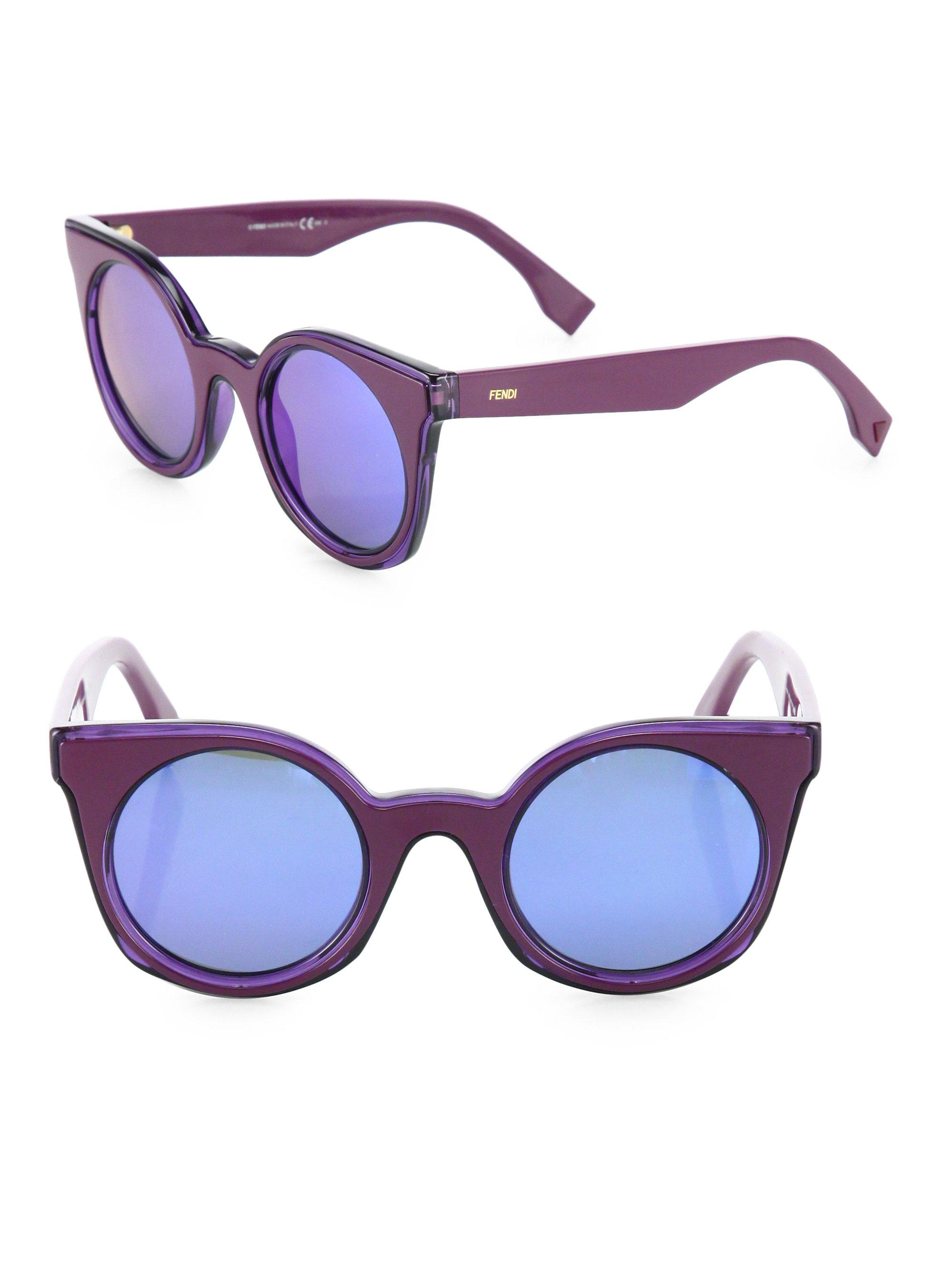 ff53e1f3464 Lyst - Fendi Women s 48mm Rounded Cat-eye Sunglasses - Havana Black ...
