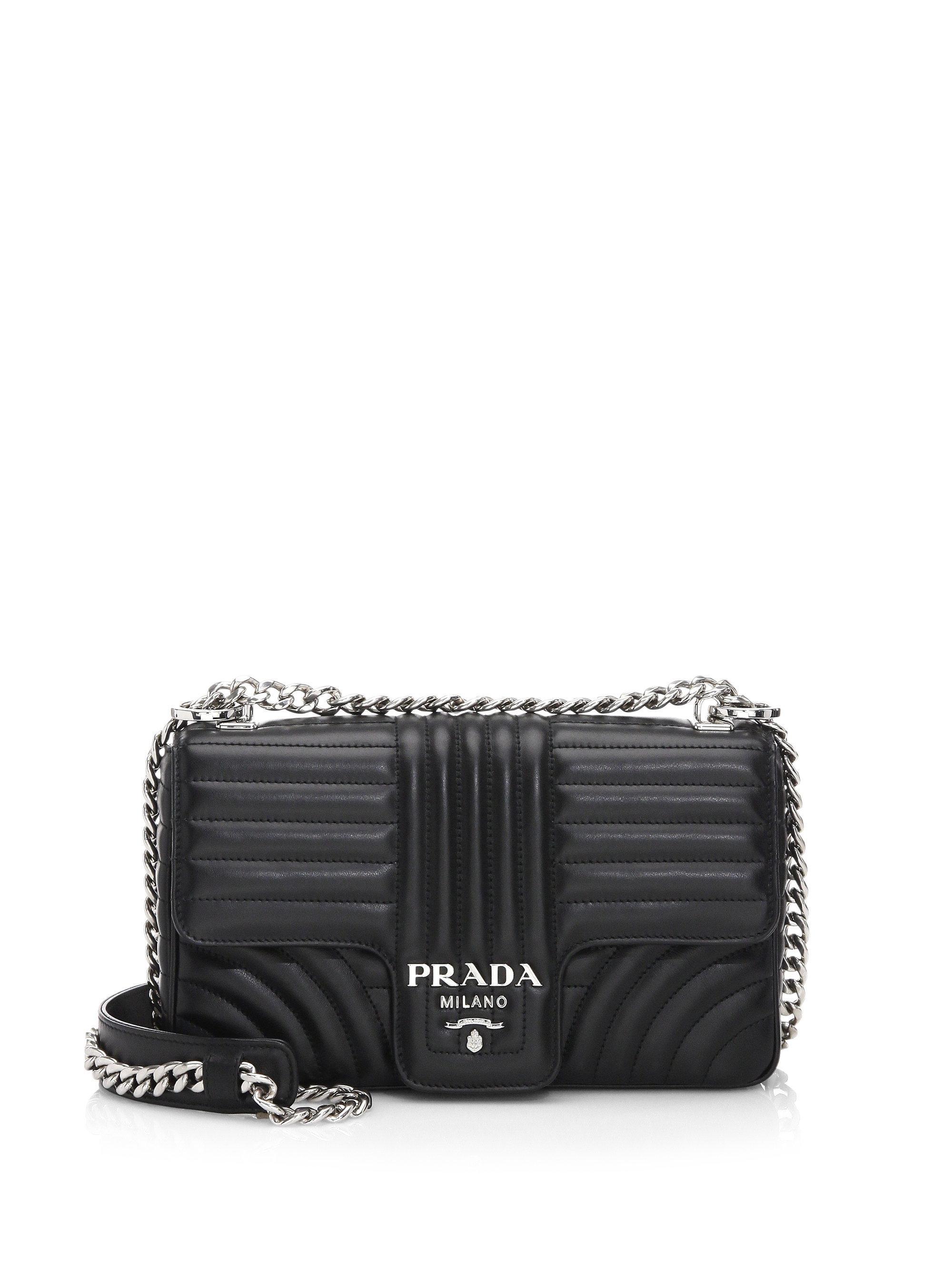 e8fa42914c82 ... where can i buy prada black medium diagramme leather shoulder bag lyst.  view fullscreen f2b41