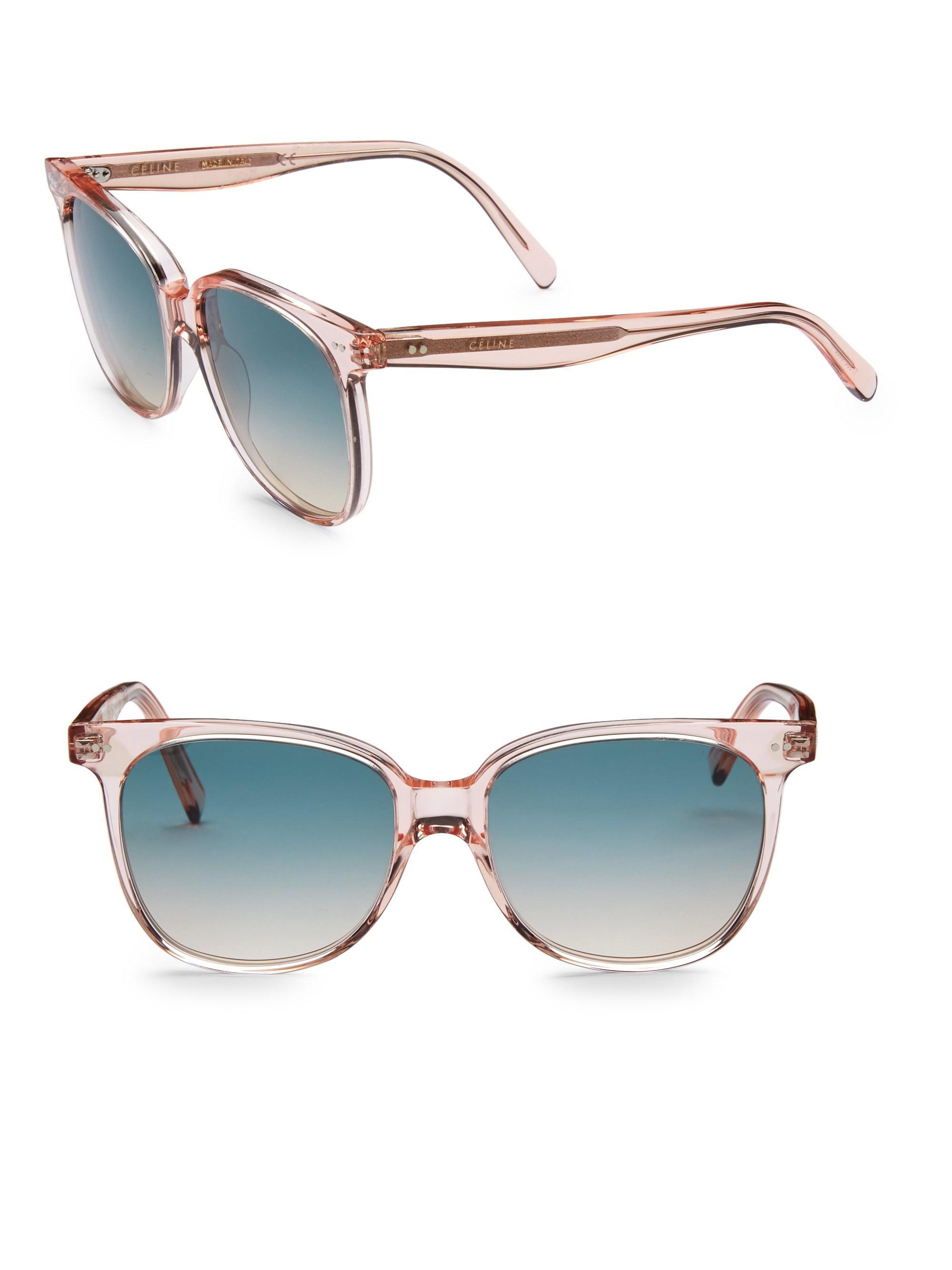 35ebac85be4 Céline 57mm Round Acetate Sunglasses in Blue - Lyst