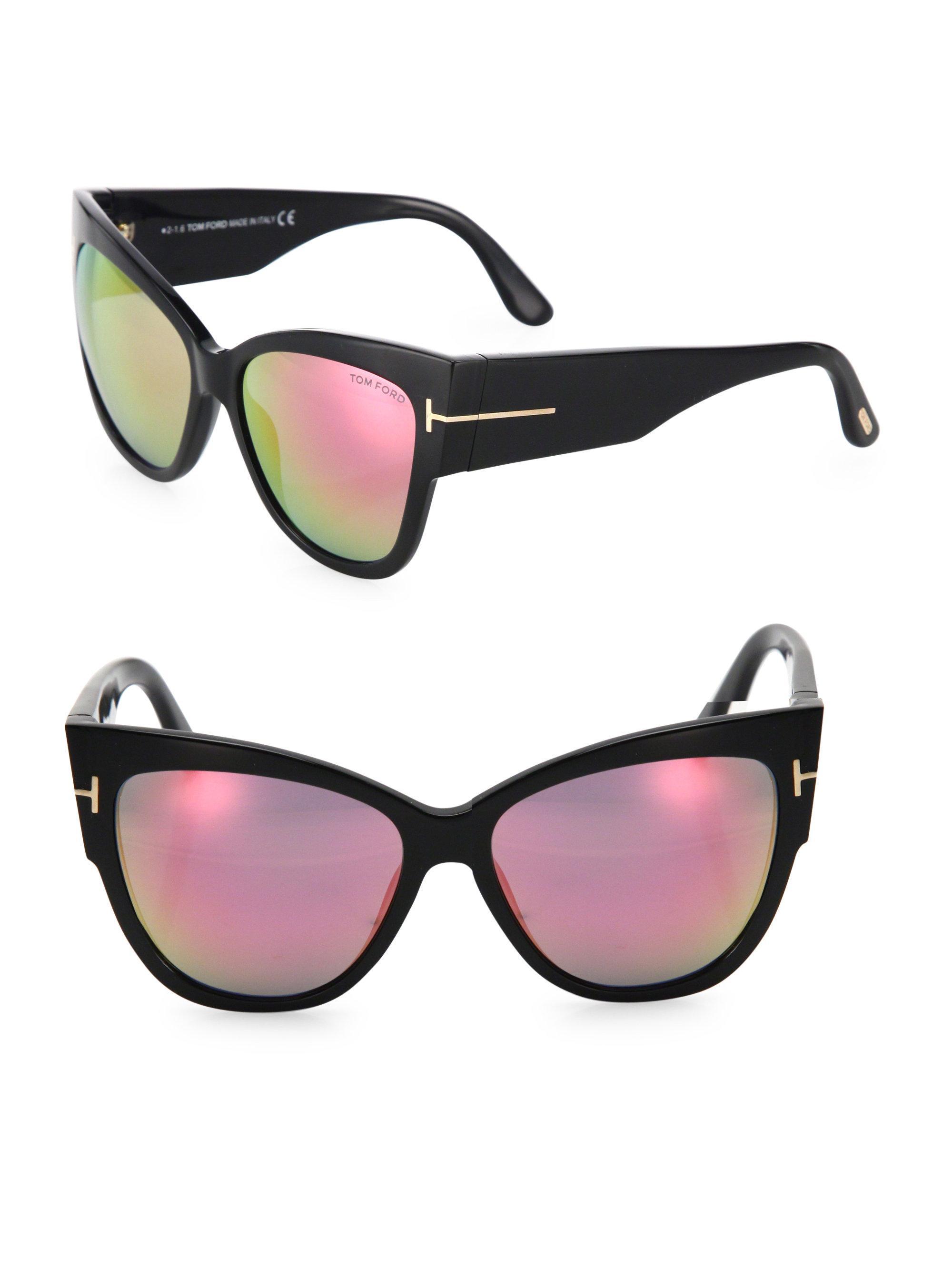 5b70dd968315 Lyst - Tom Ford Anoushka 57mm Mirrored Cat Eye Sunglasses