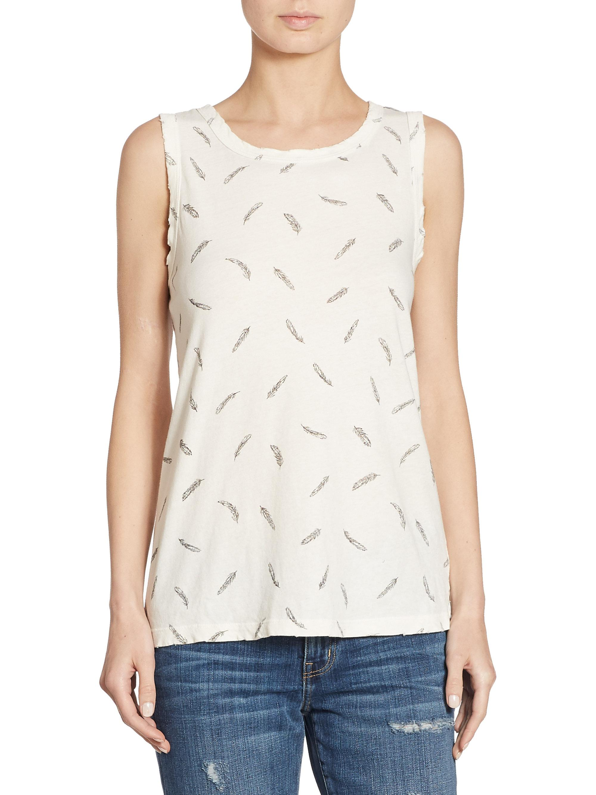 2b0cf1361c09a Lyst - Current Elliott Feather Printed Muscle Tee in White
