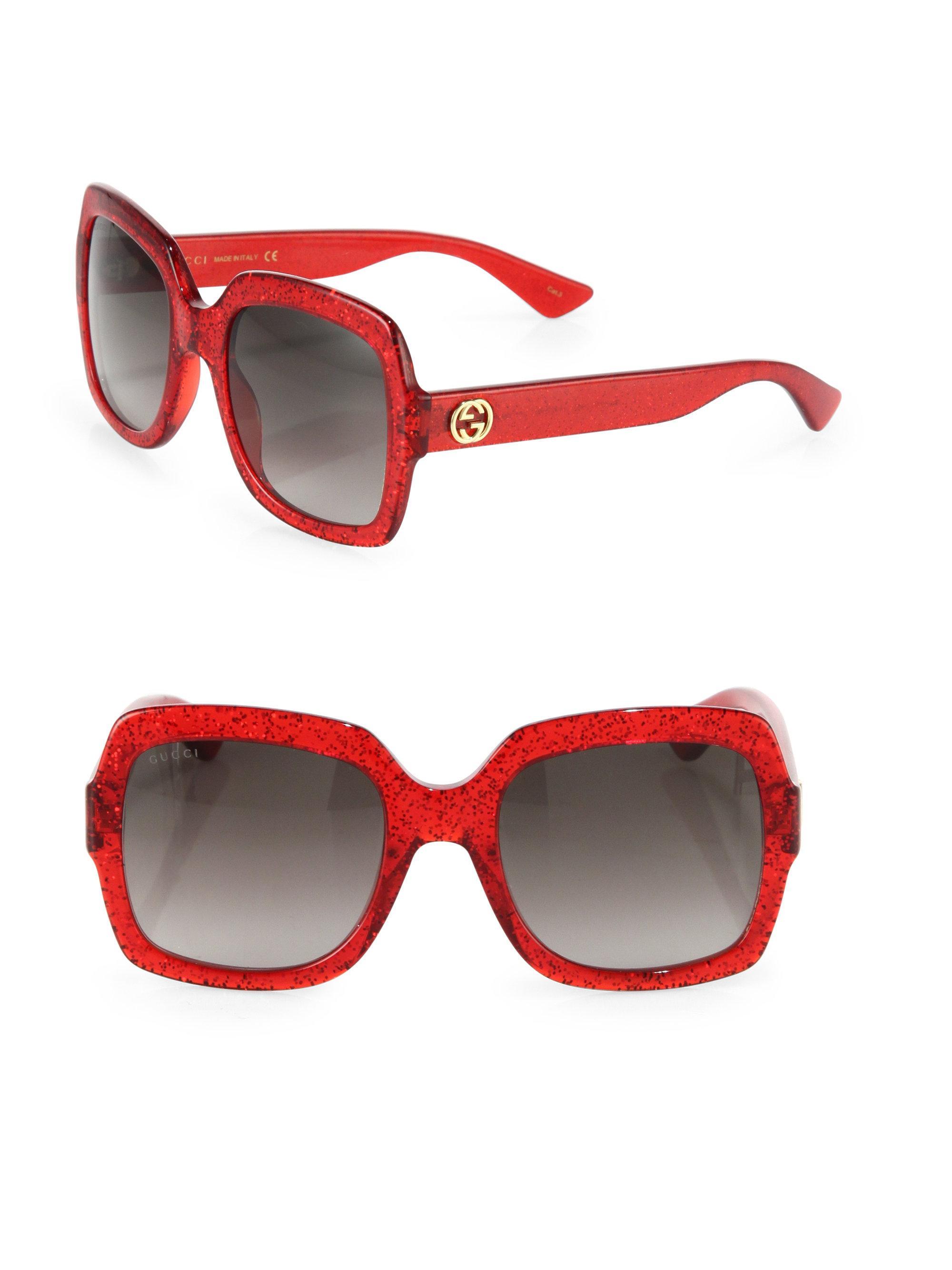 6f9f9a8636 ... Lyst Gucci Women s 54mm Oversized Glitter Square Sunglasses Red