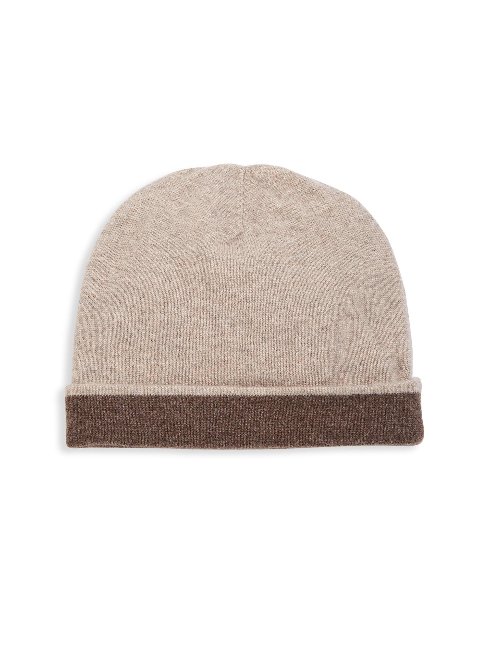 b70a2403e077b Saks Fifth Avenue Collection Cashmere Double Face Hat in Brown for ...