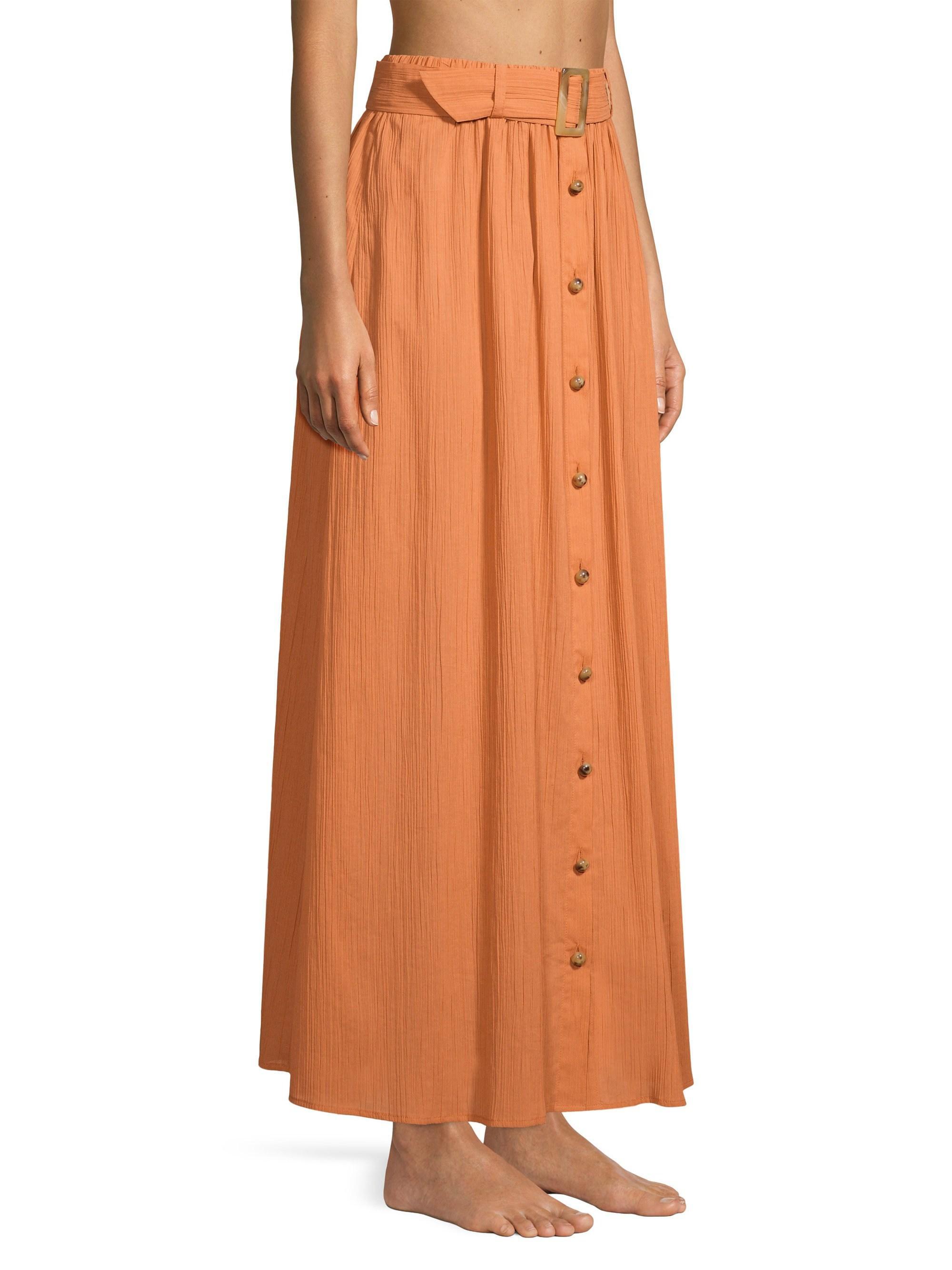 f61f49457f Lisa Marie Fernandez Belted Cotton-gauze Maxi Skirt in Orange - Save 19% -  Lyst