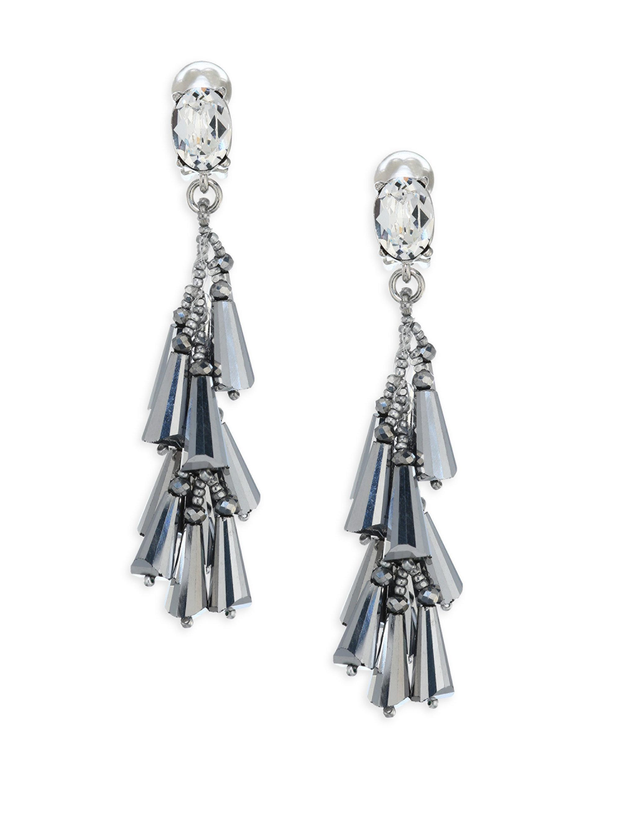 2e0def76f996 Lyst - Oscar de la Renta Multi-cone Crystal Clip-on Earrings in Metallic