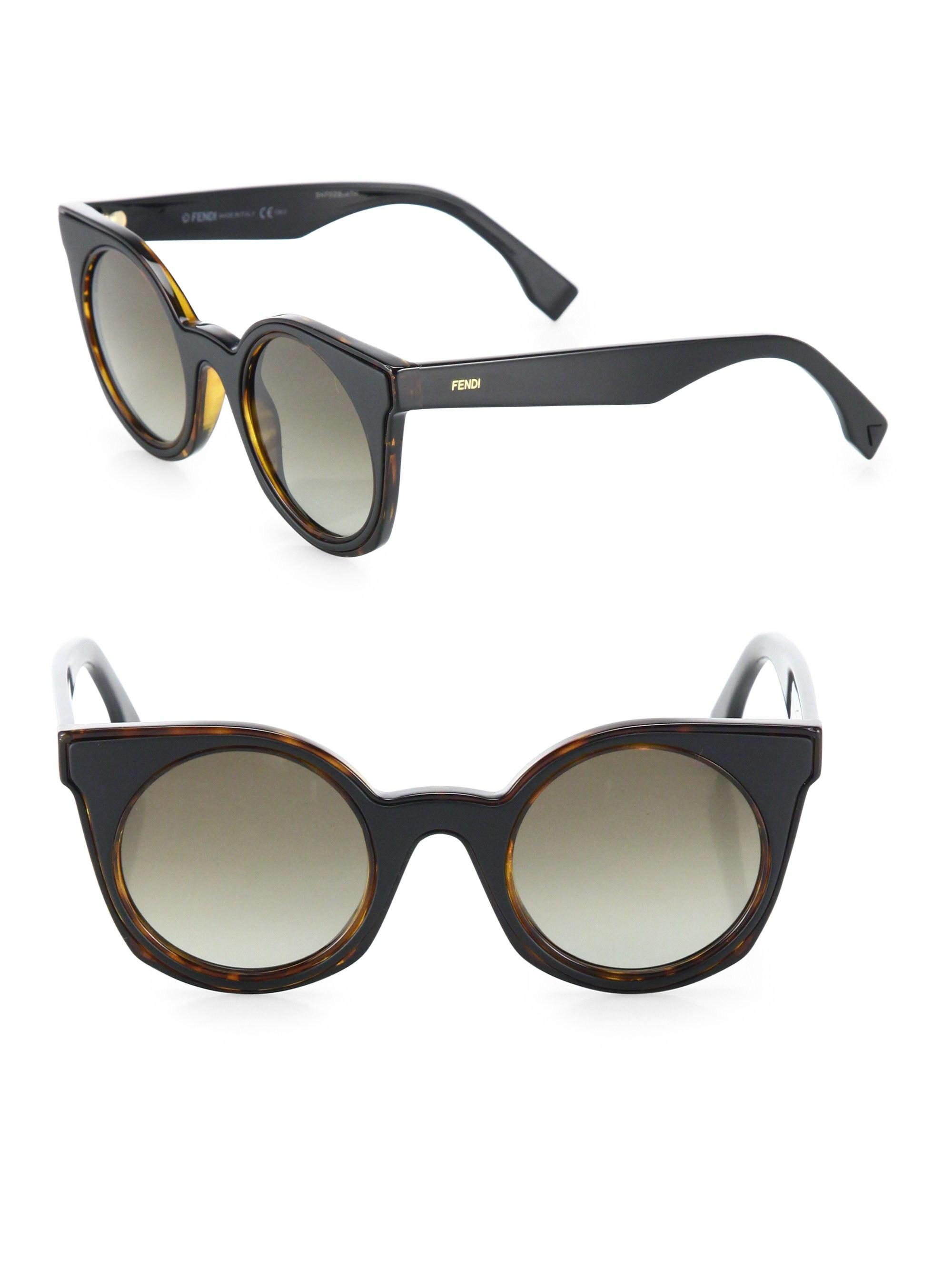 085e7069ddd6b Lyst - Fendi Women s 48mm Rounded Cat-eye Sunglasses - Havana Black ...
