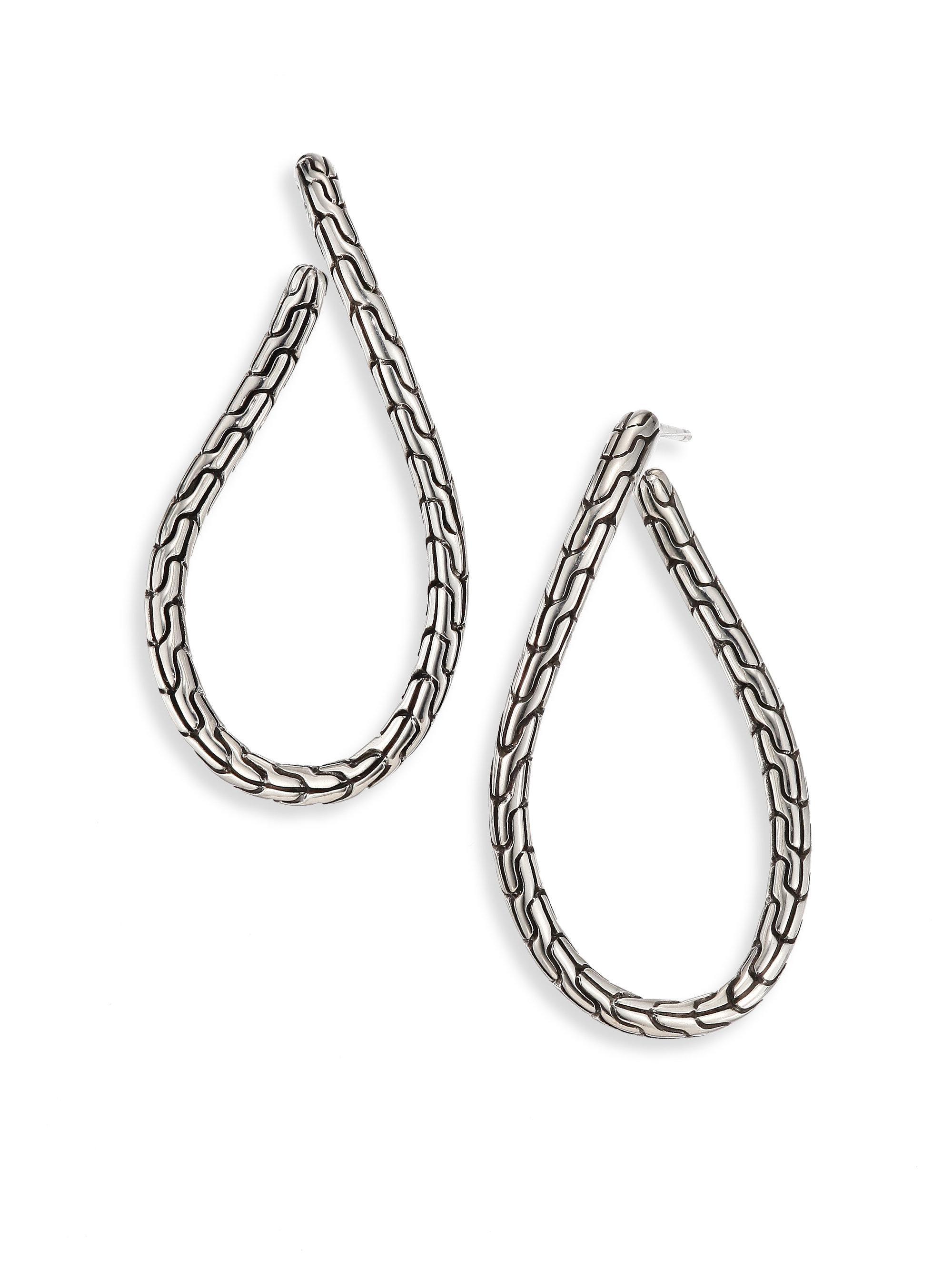 John Hardy Classic Chain Sterling Silver Twisted Hoop Earrings WRweS3