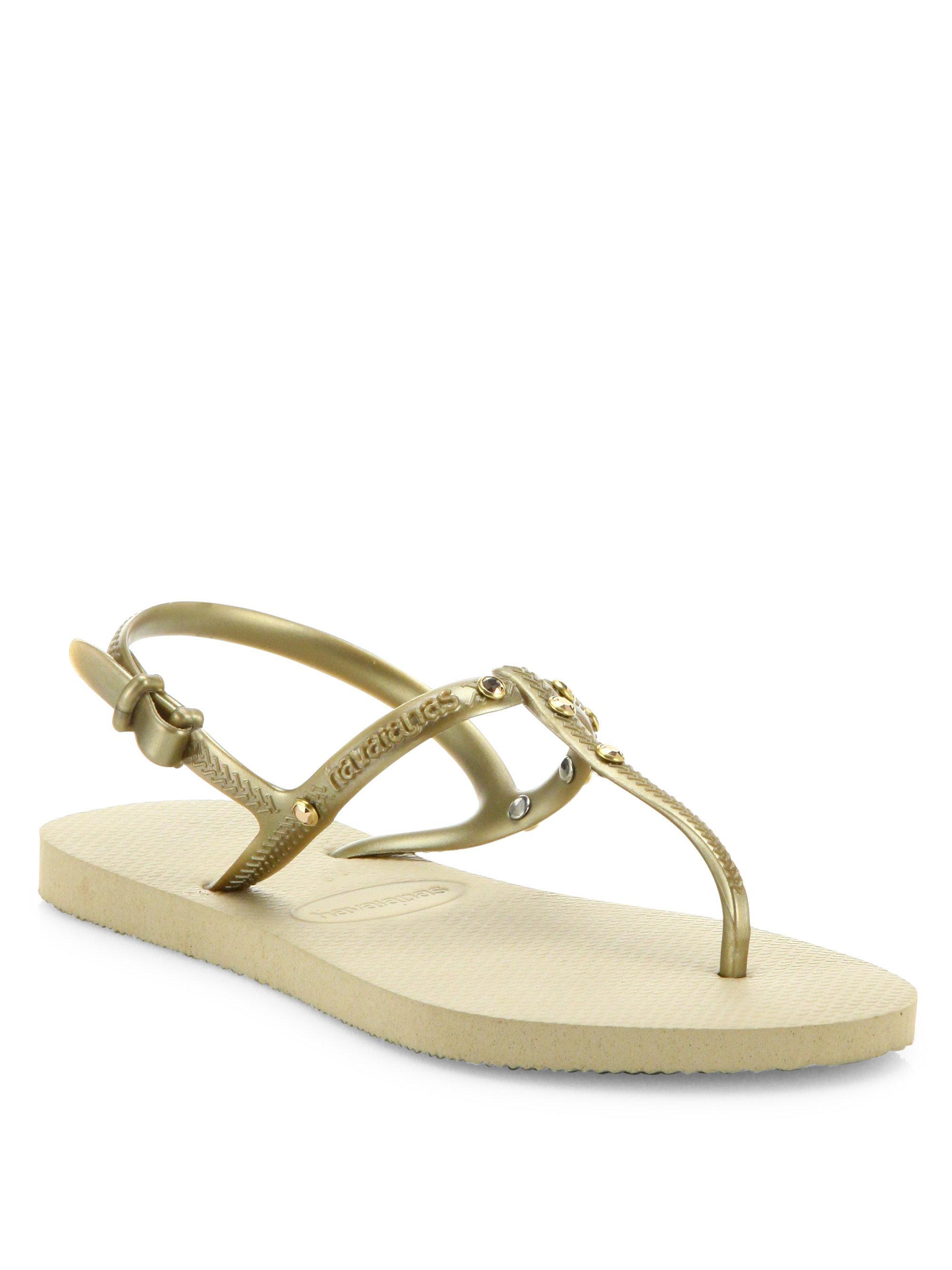 69e425661531 Lyst - Havaianas Freedom Crystal Swarovski Slingback Sandals
