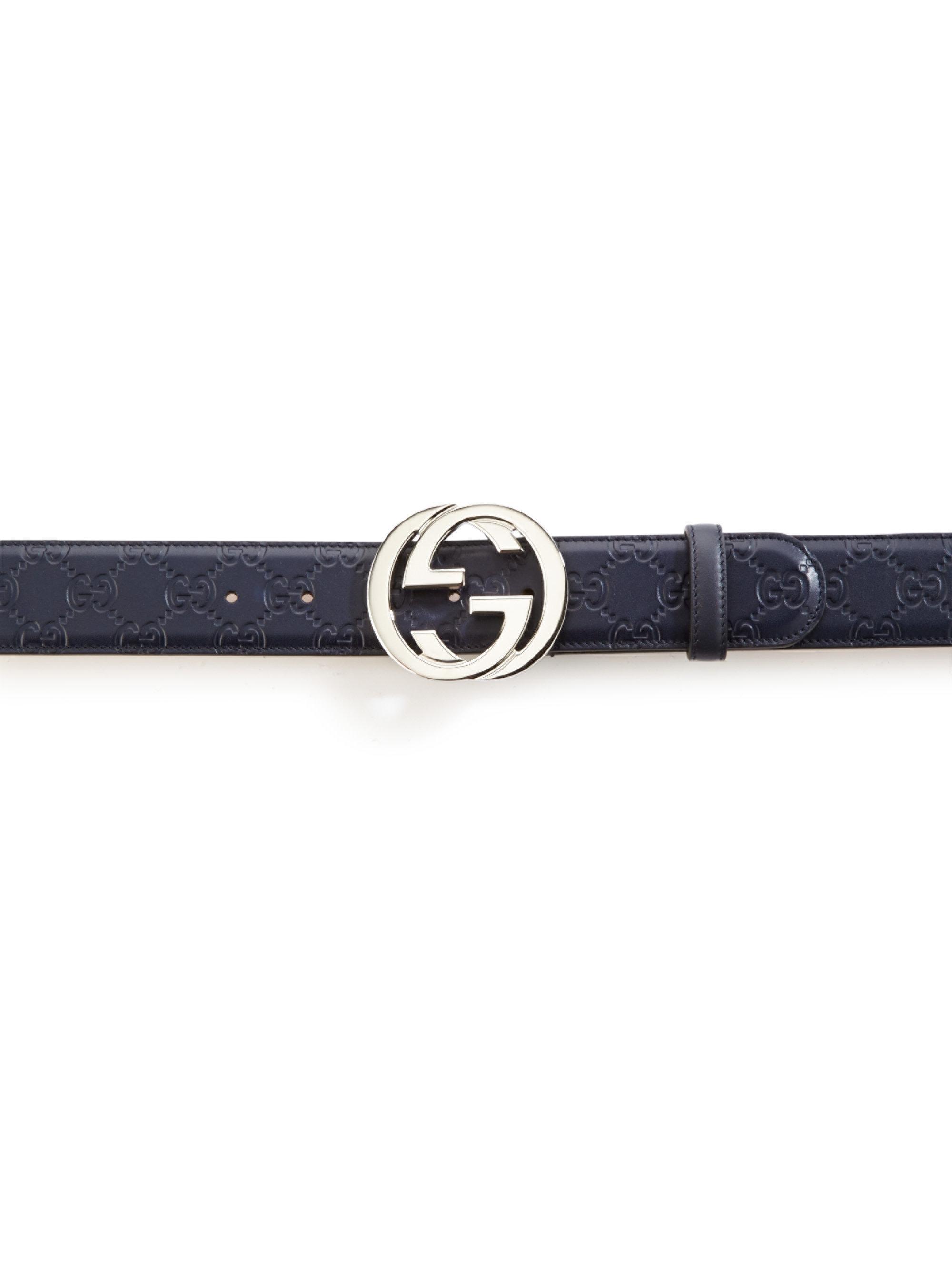 1453dde966e Long-Touch to Zoom. Gucci - Blue Embossed Interlocking G Belt for Men -  Lyst. View fullscreen