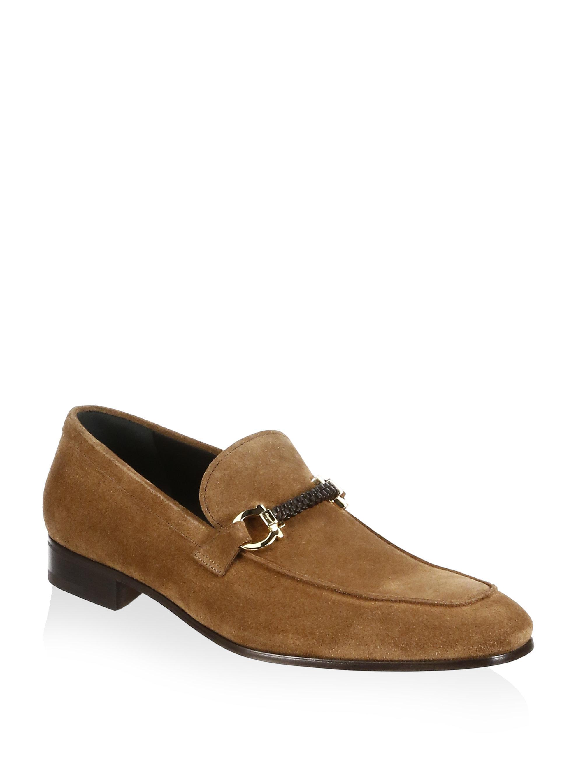 Lyst Ferragamo Cross Suede Loafers In Brown For Men