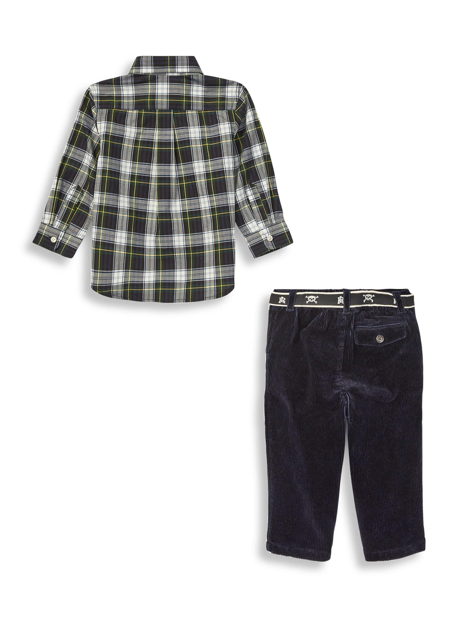 d7b5432b Ralph Lauren Black Baby Boy's 3-piece Plaid Shirt, Pants & Belt Set - White  Multi for men