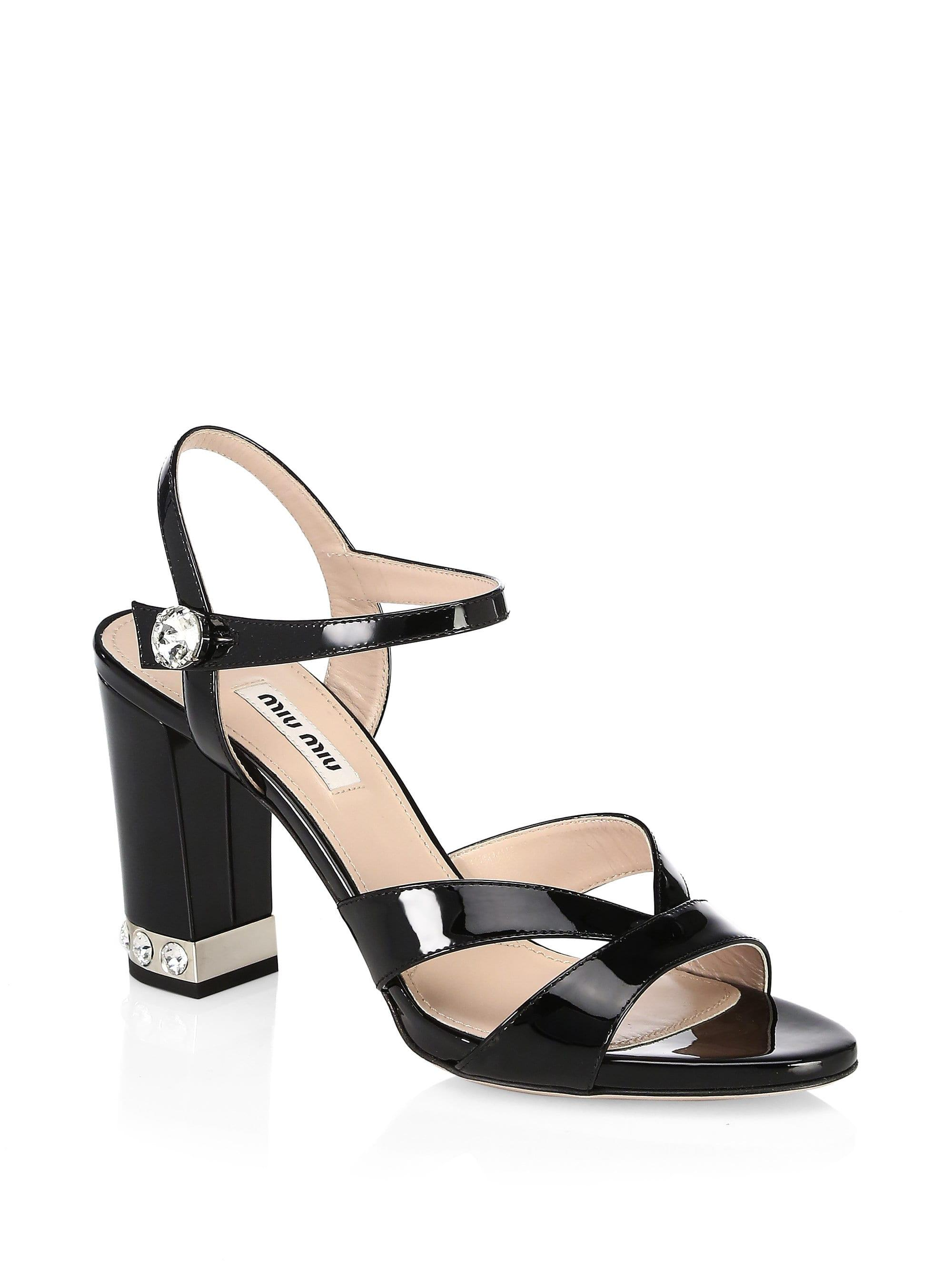 5a3948f3001 Lyst - Miu Miu Crystal-embellished Leather Slingback Sandals in Black