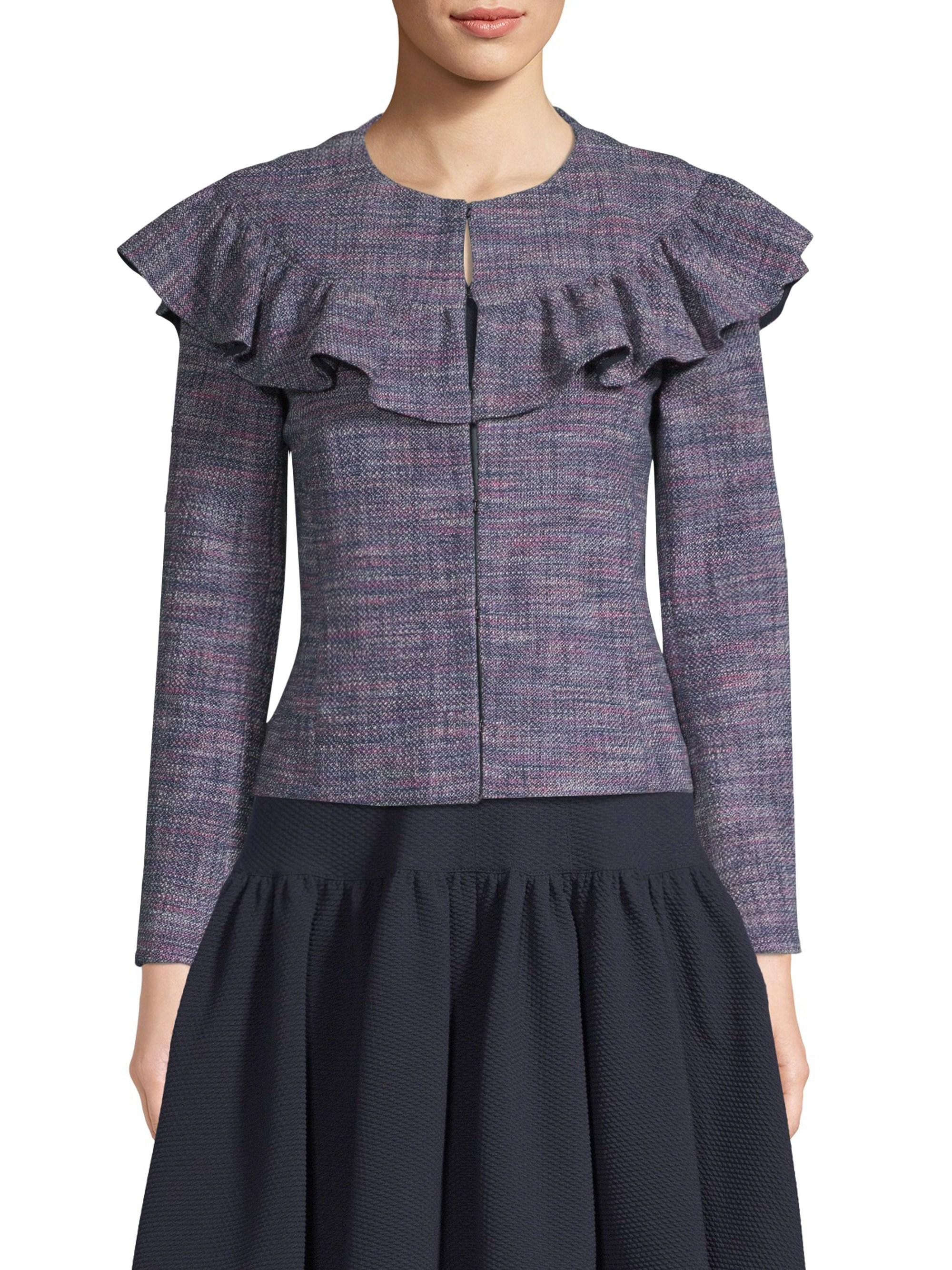 Rebecca Taylor Womens Stretch Tweed Ruffled Jacket Purple Multi Colored Size 2