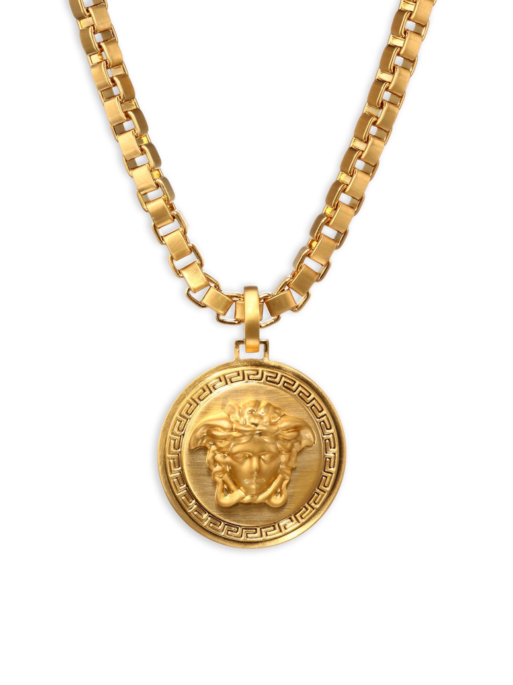 Versace Chain Pendant Necklace in Metallic for Men - Lyst