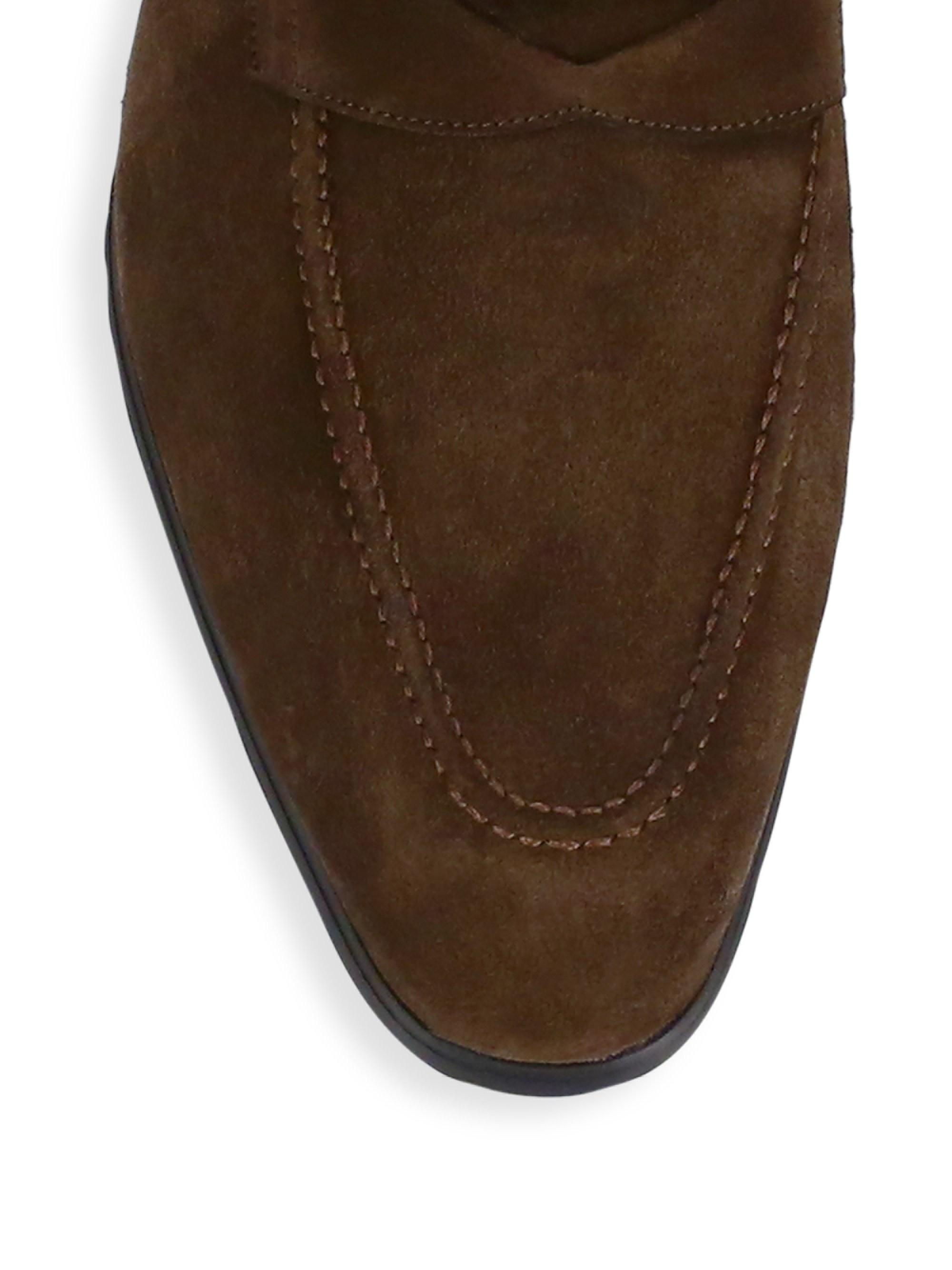A.Testoni Men's Casual Suede Penny Loafers - Brown - Size ...