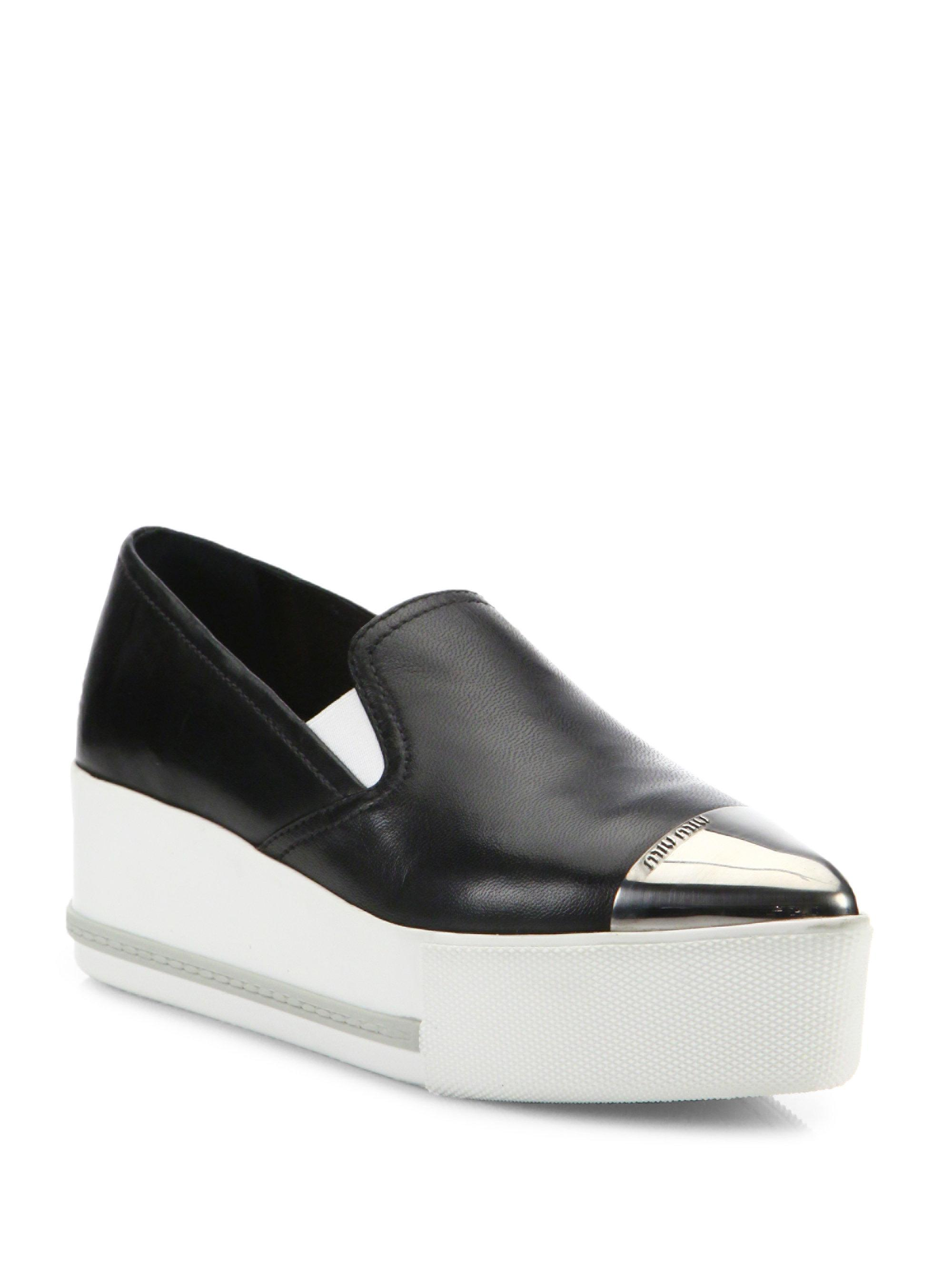 Miu Miu Patent Cap Toe Platform Slip-On Sneakers