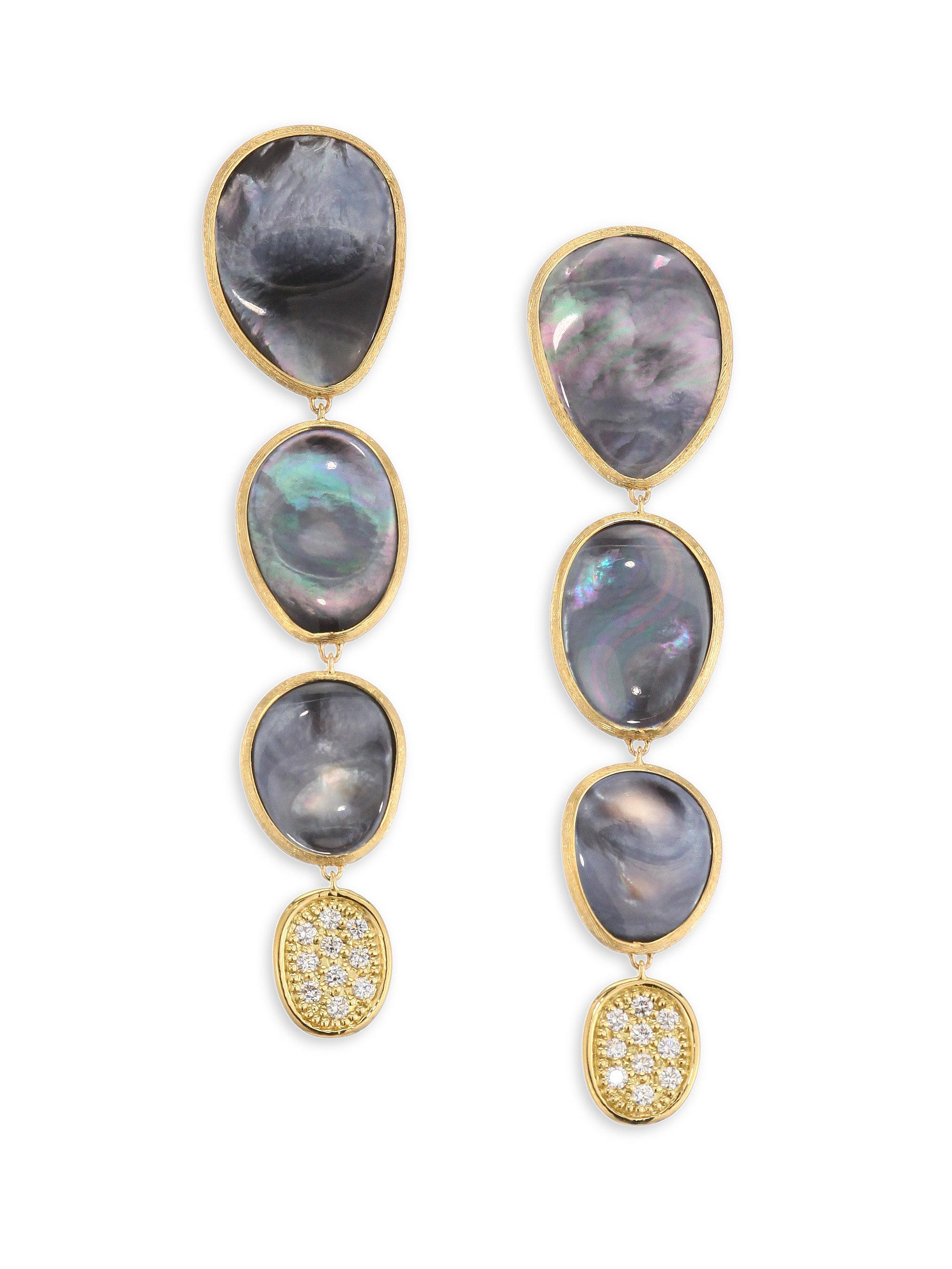 Marco Bicego Lunaria Medium Earrings with Black Mother-of-Pearl tKBAeUt