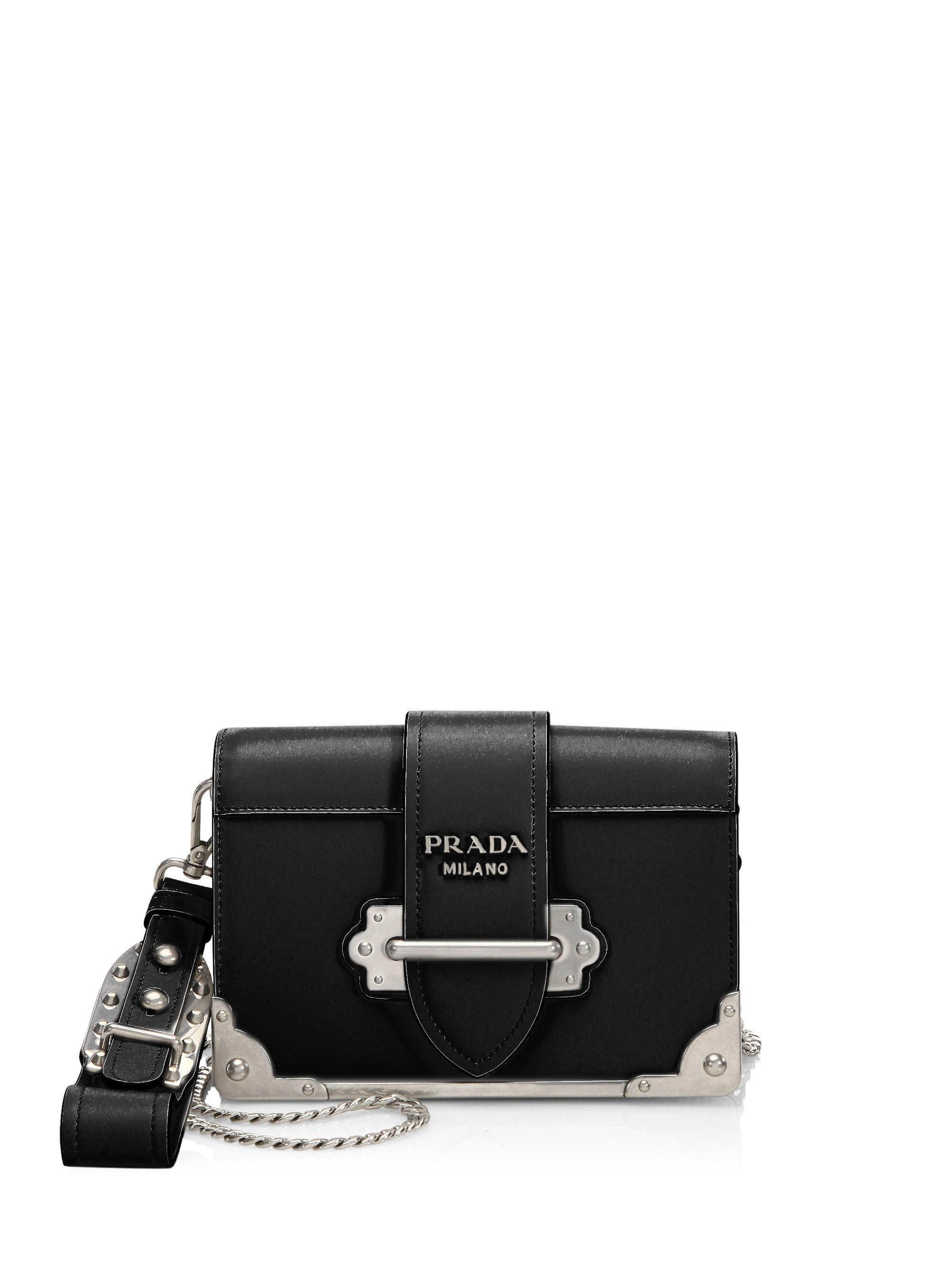 29122f61237126 Prada Wristlet Chain Cahier in Black - Lyst
