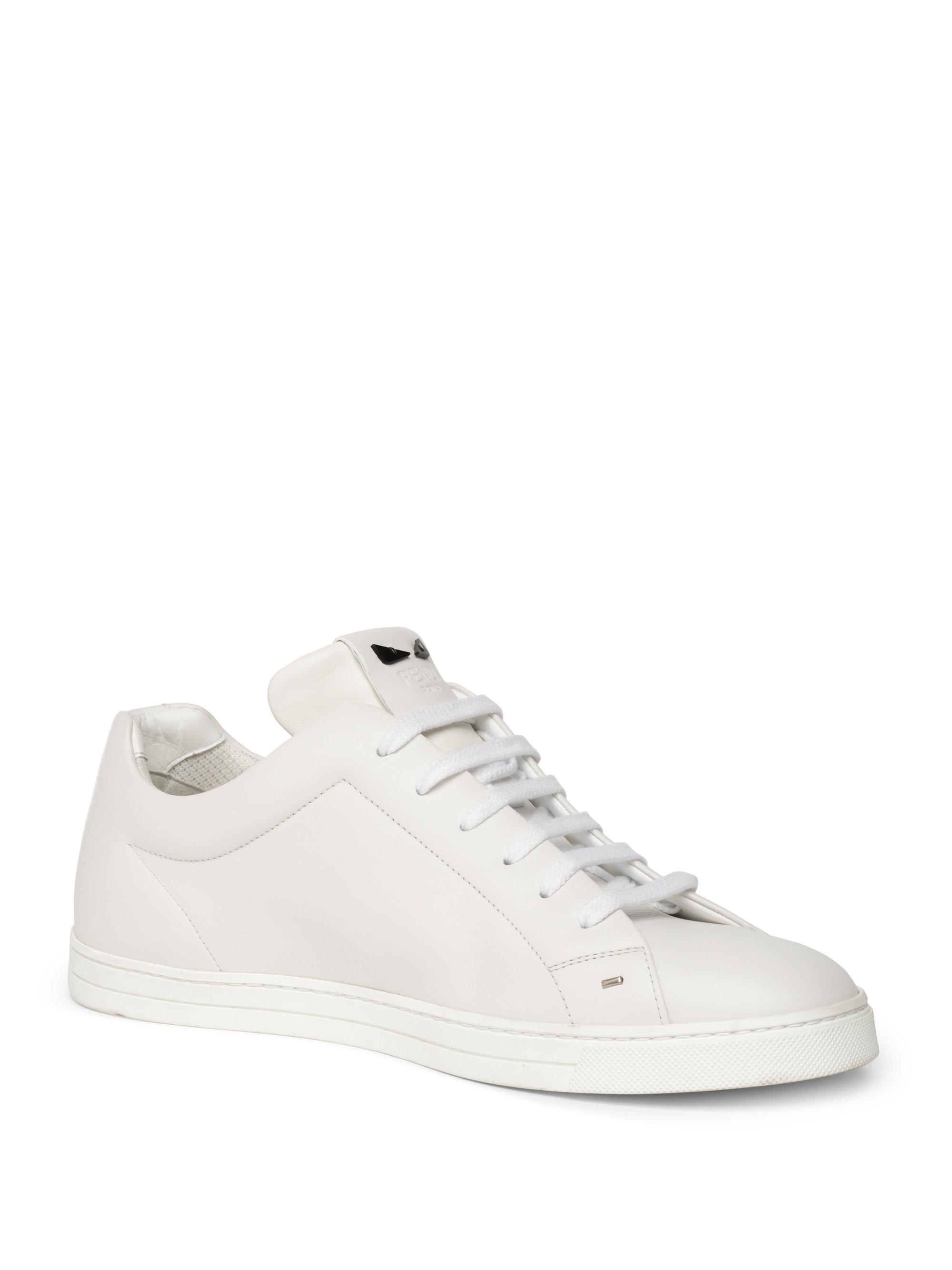de1a8a6d44 Men's White Micro Bugs Leather Sneakers