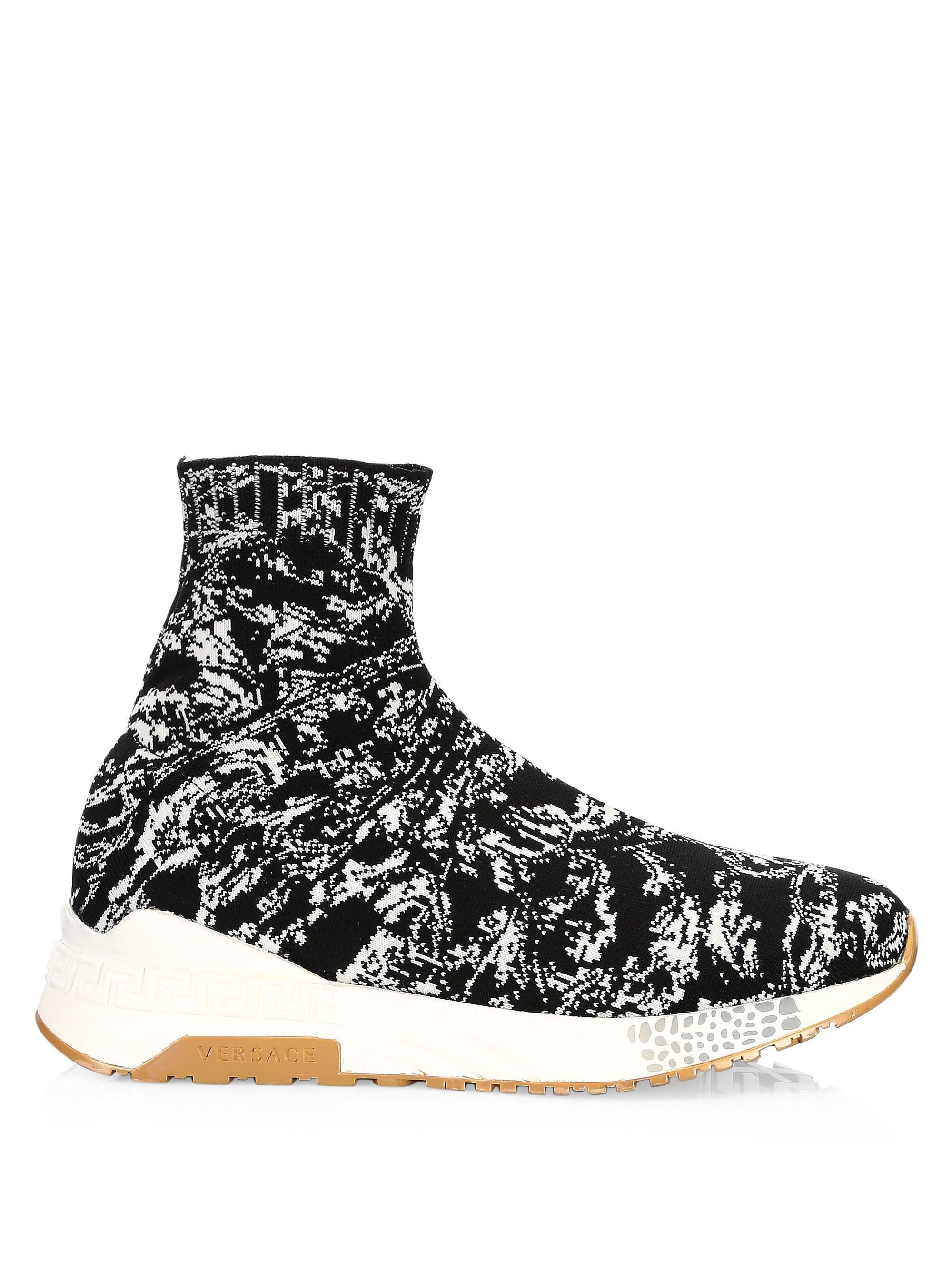 Baroque Knit Sock Sneakers in Black