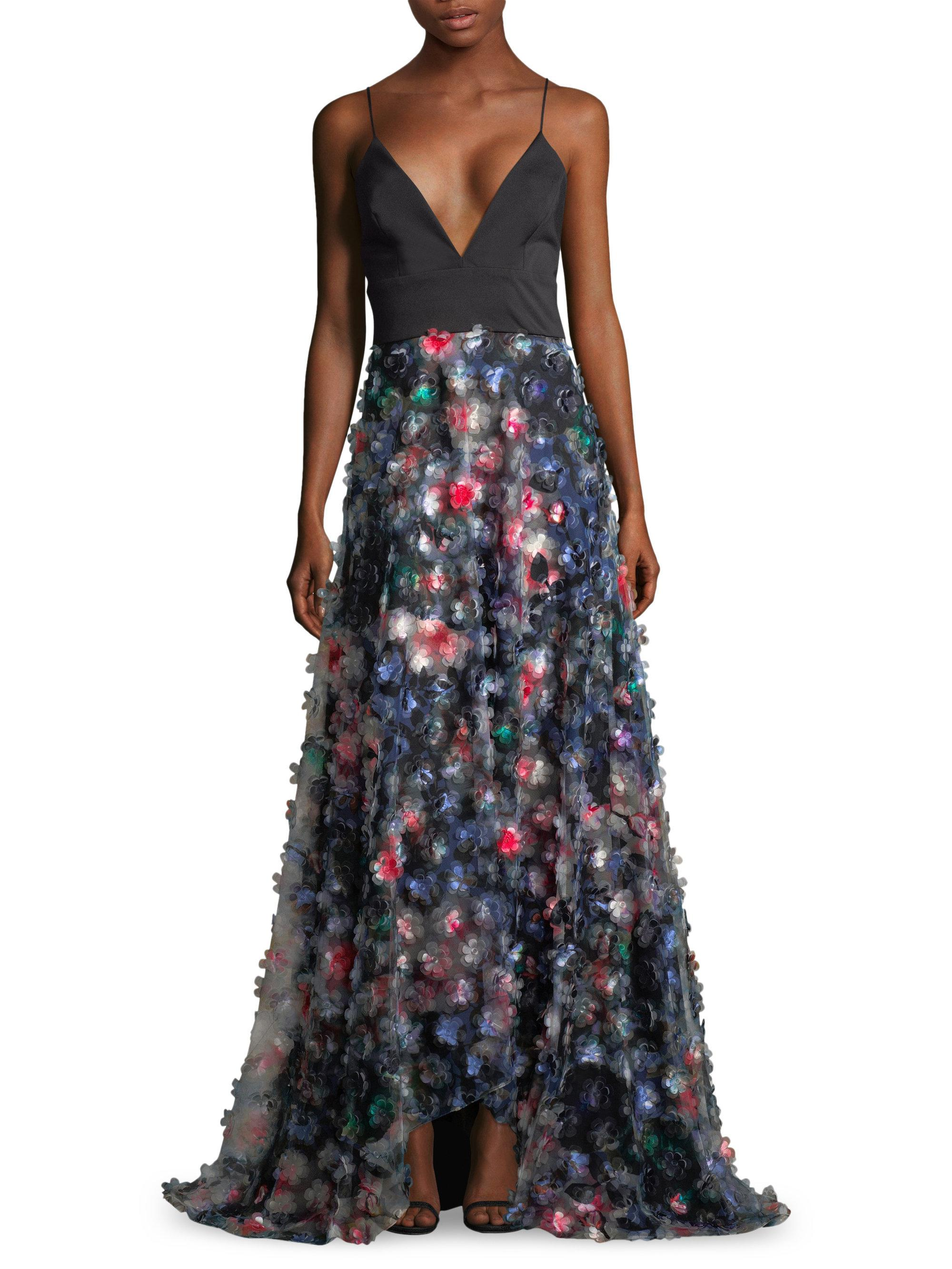 Lyst badgley mischka cold shoulder printed 3d floral for Badgley mischka store nyc
