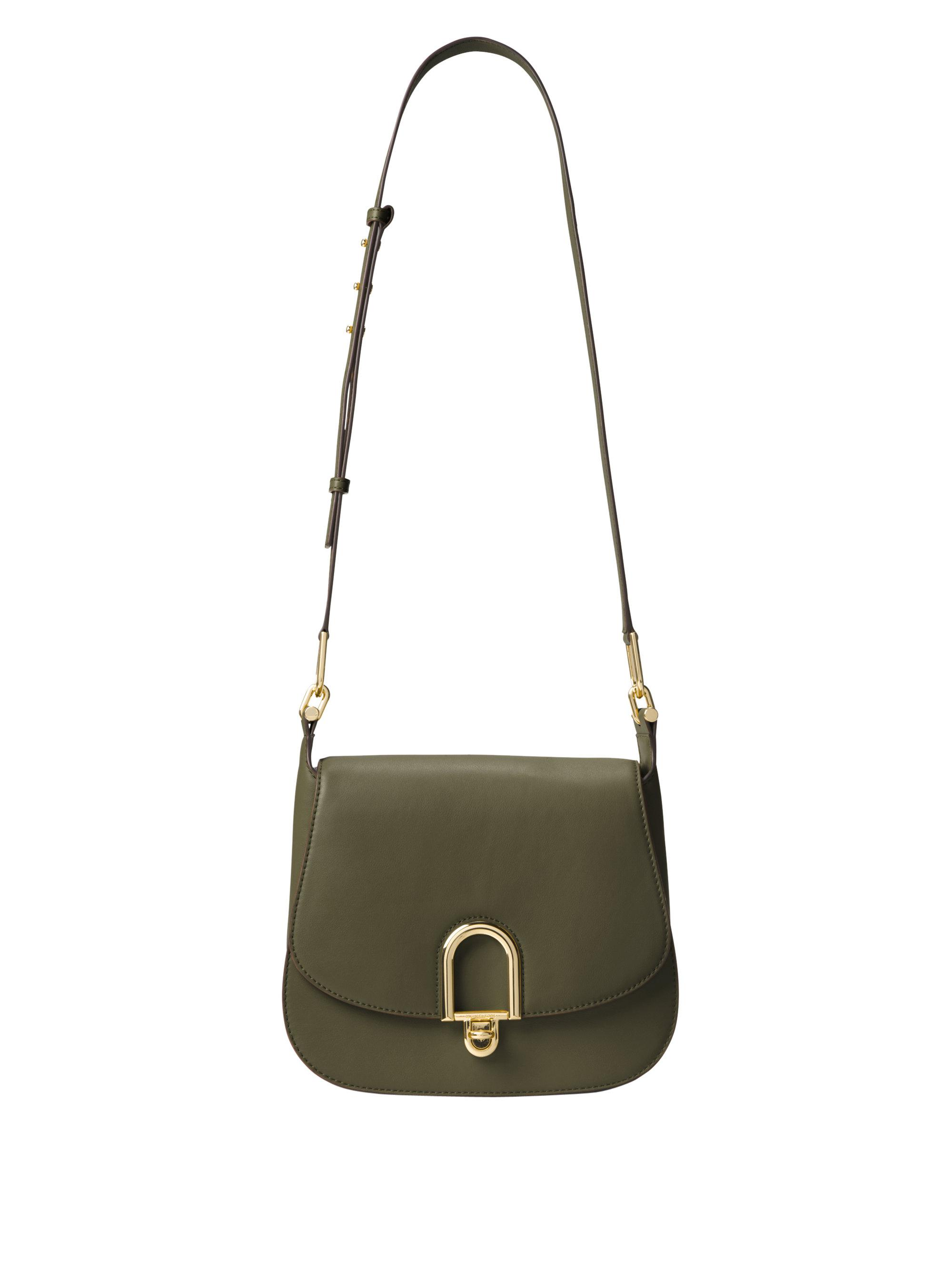 961848802589 MICHAEL Michael Kors Delfina Leather Saddle Bag in Green - Lyst