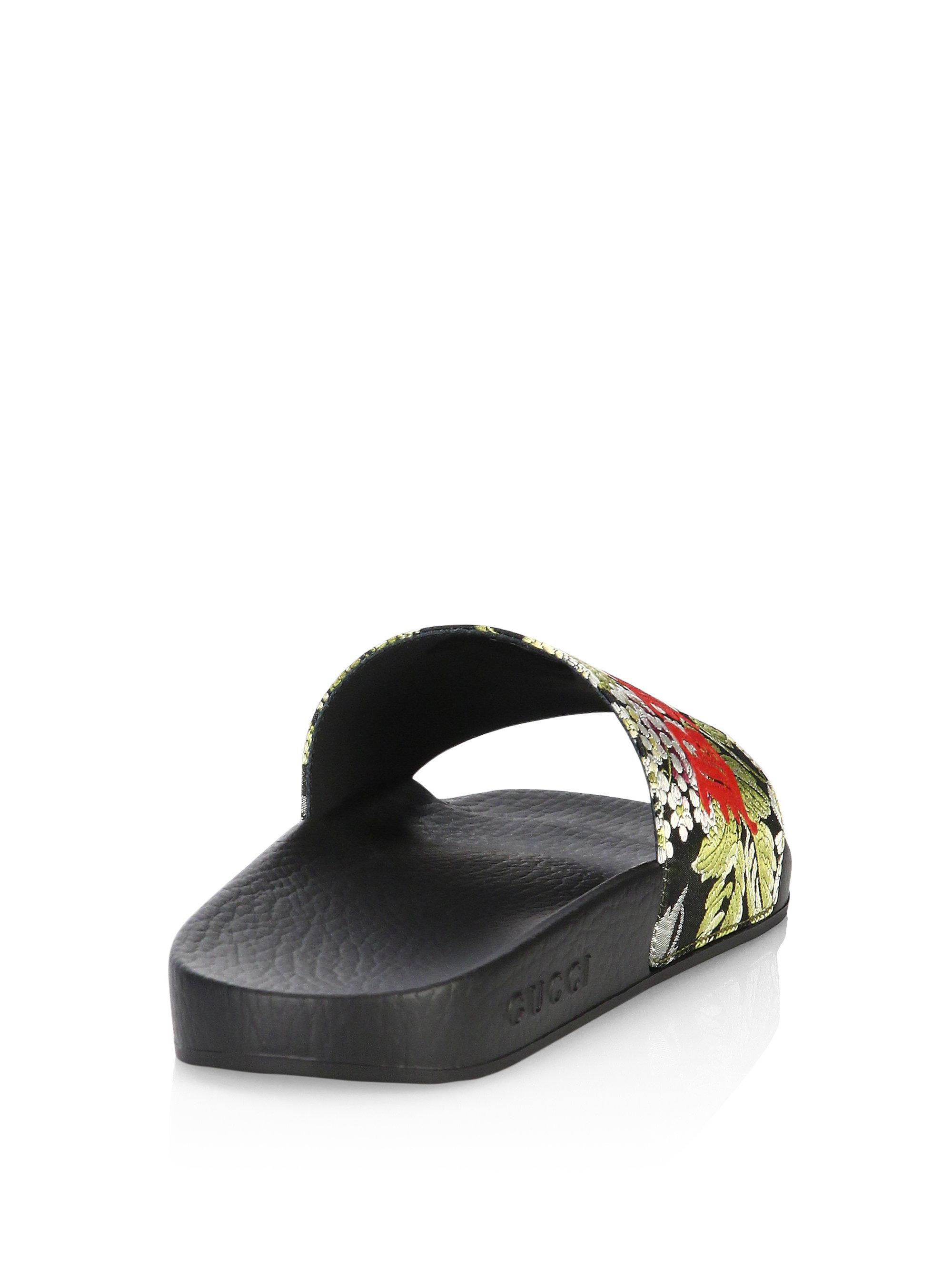 e2707028d Lyst - Gucci Pursuit Romantic Floral Jacquard Slides in Black