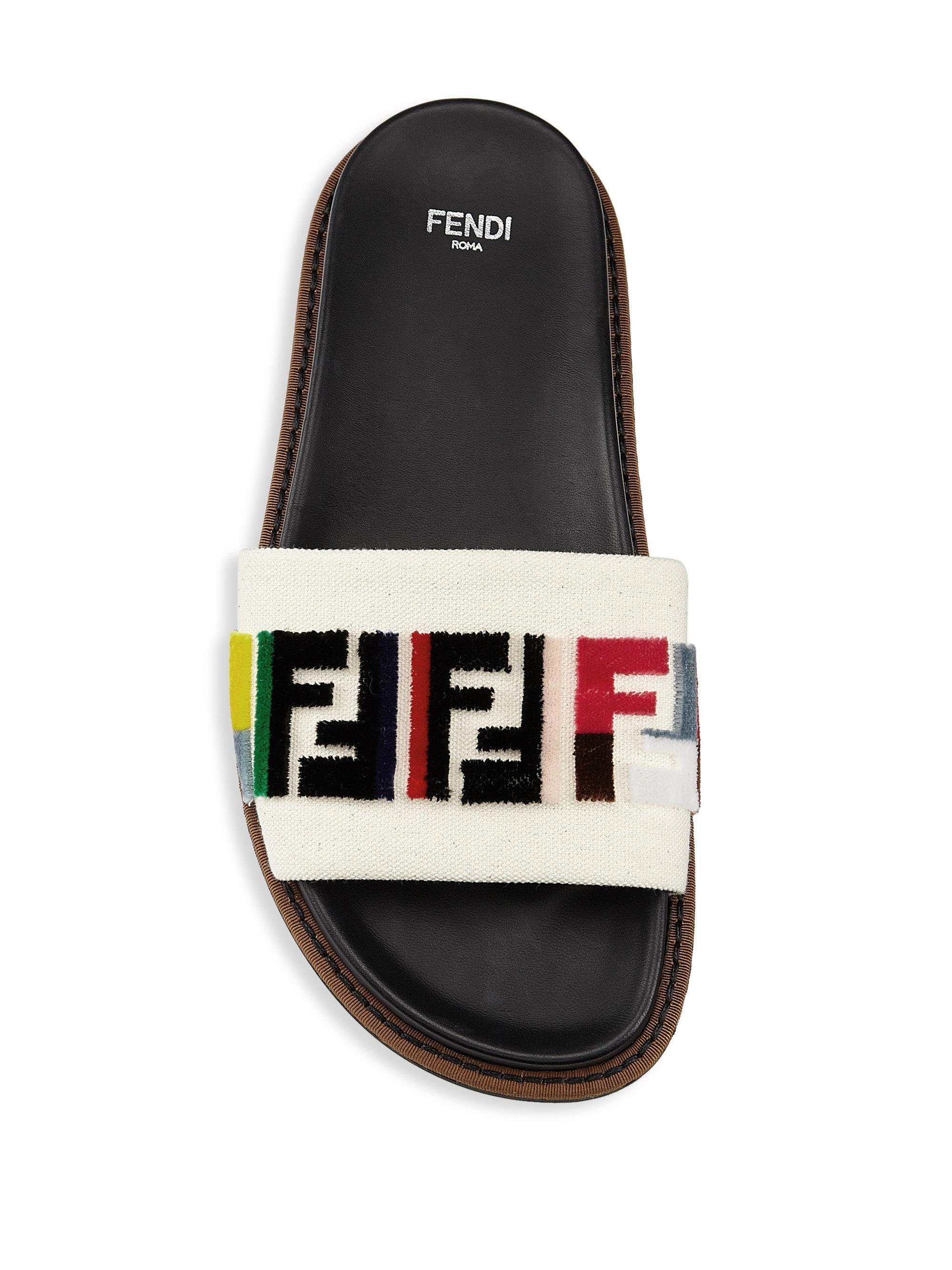 87aa783f4a3e Fendi Fun Slides in Black - Lyst