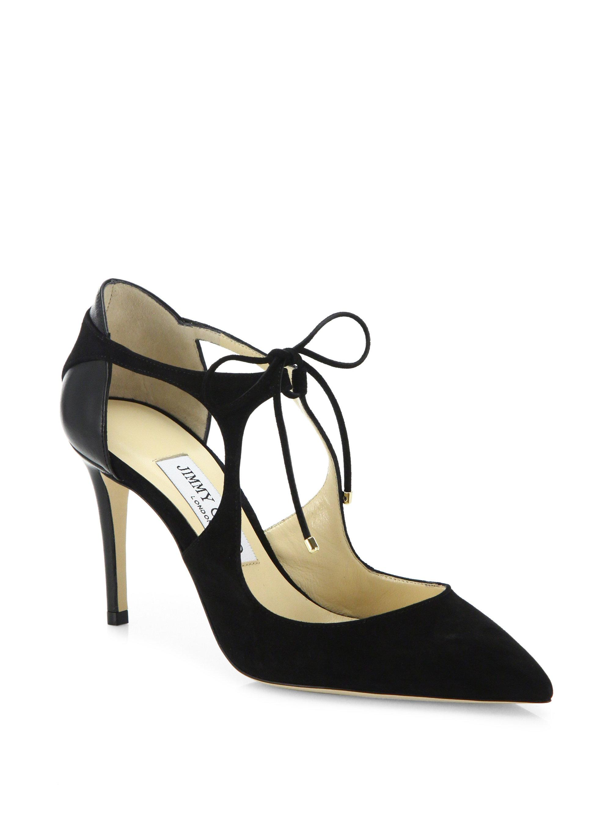 Vanessa 100 Suede Tie Up Pumps in Black Suede and Nappa Jimmy Choo London xwq2NZDz