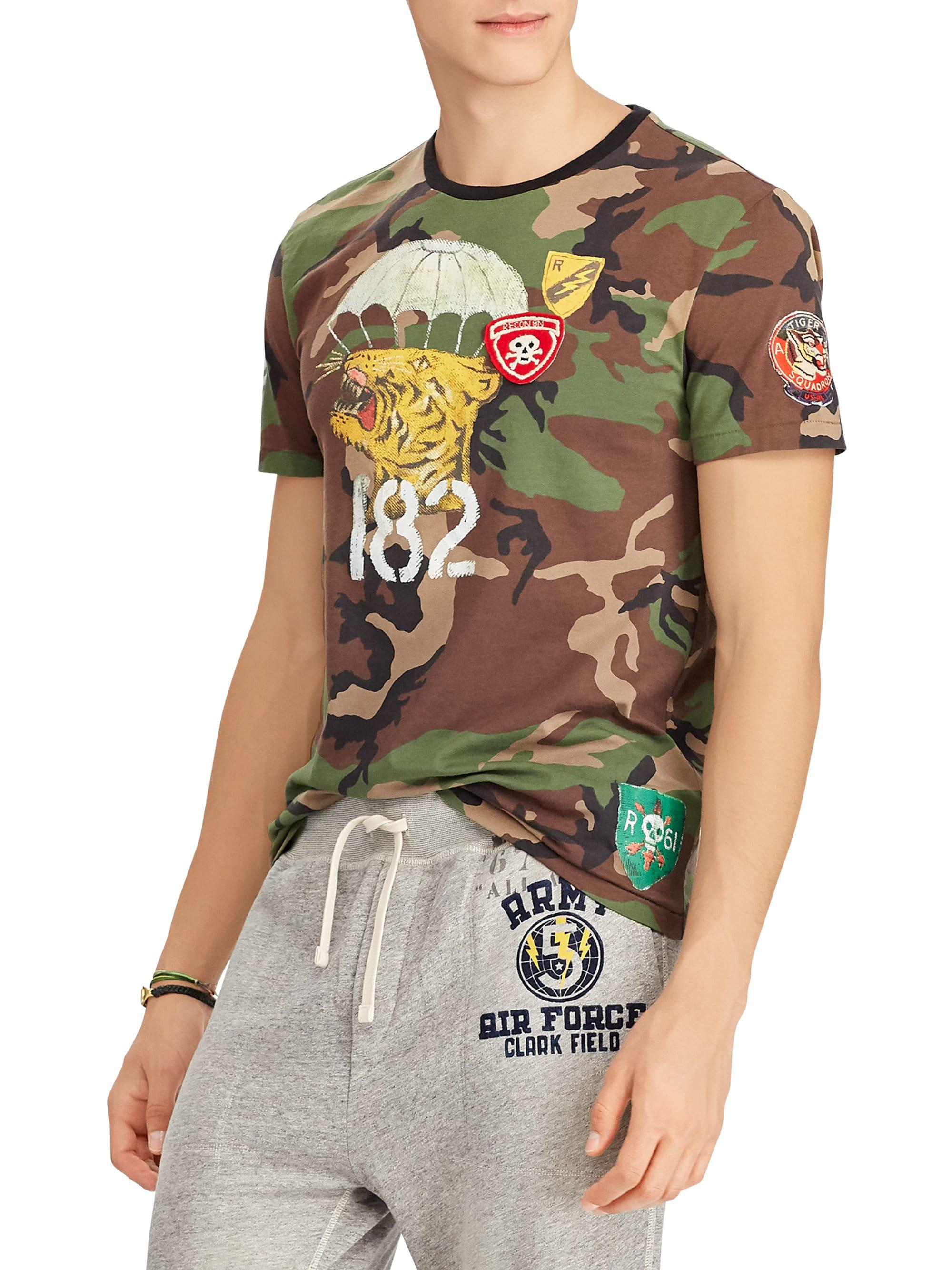 0a48b917 Polo Ralph Lauren Camo Cotton T Shirt In Green For Men Lyst