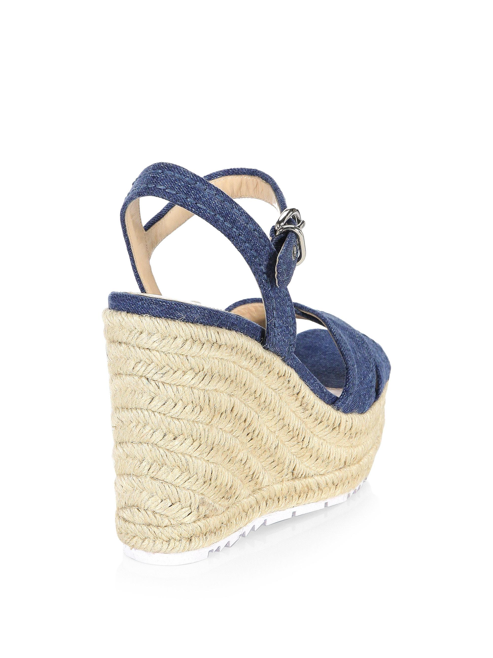 Prada Denim & Raffia Wedge Sandals GFrjF