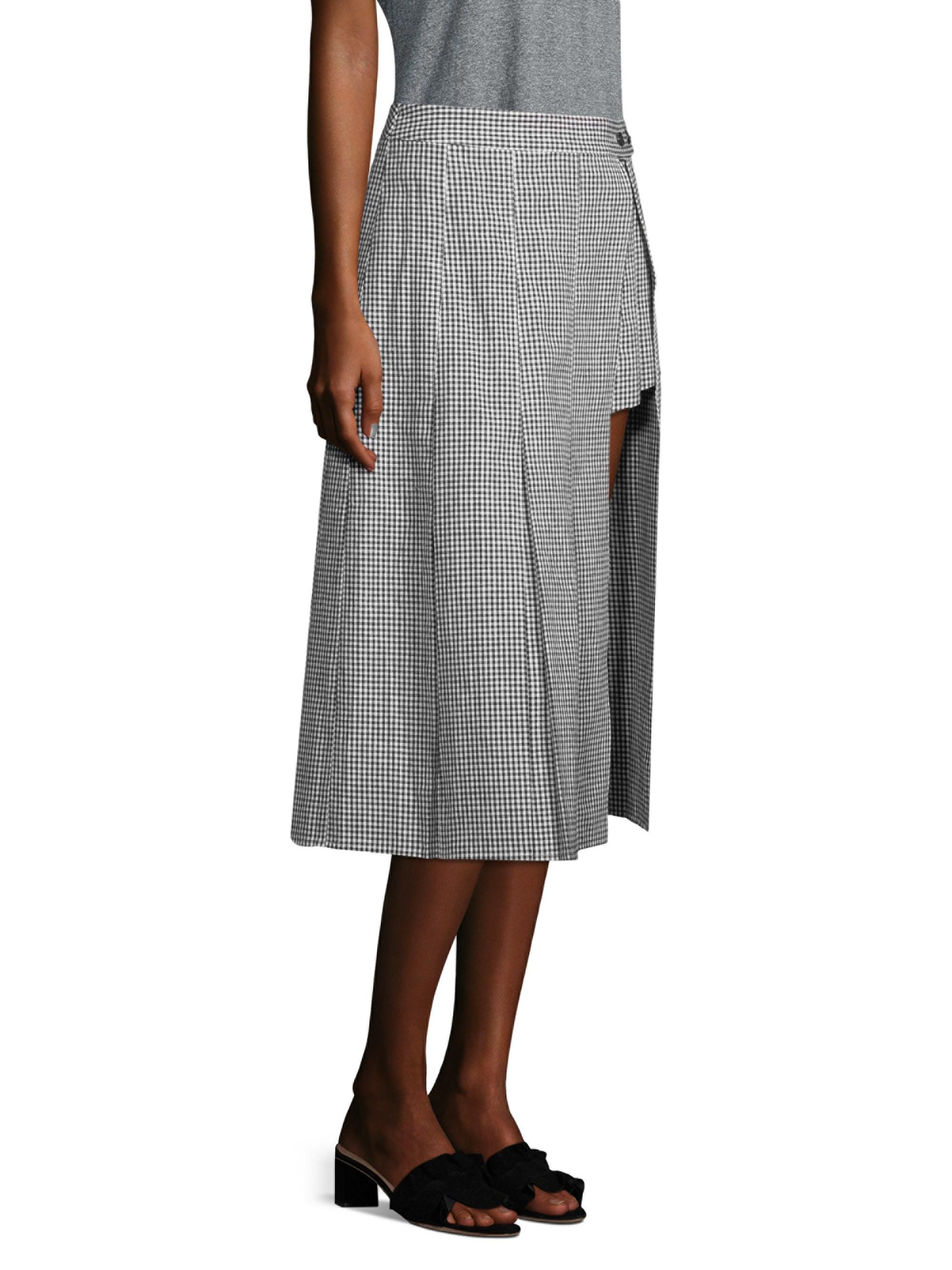 34951110a4 Lyst - Sandy Liang Pleated Gingham Asymetrical Skirt
