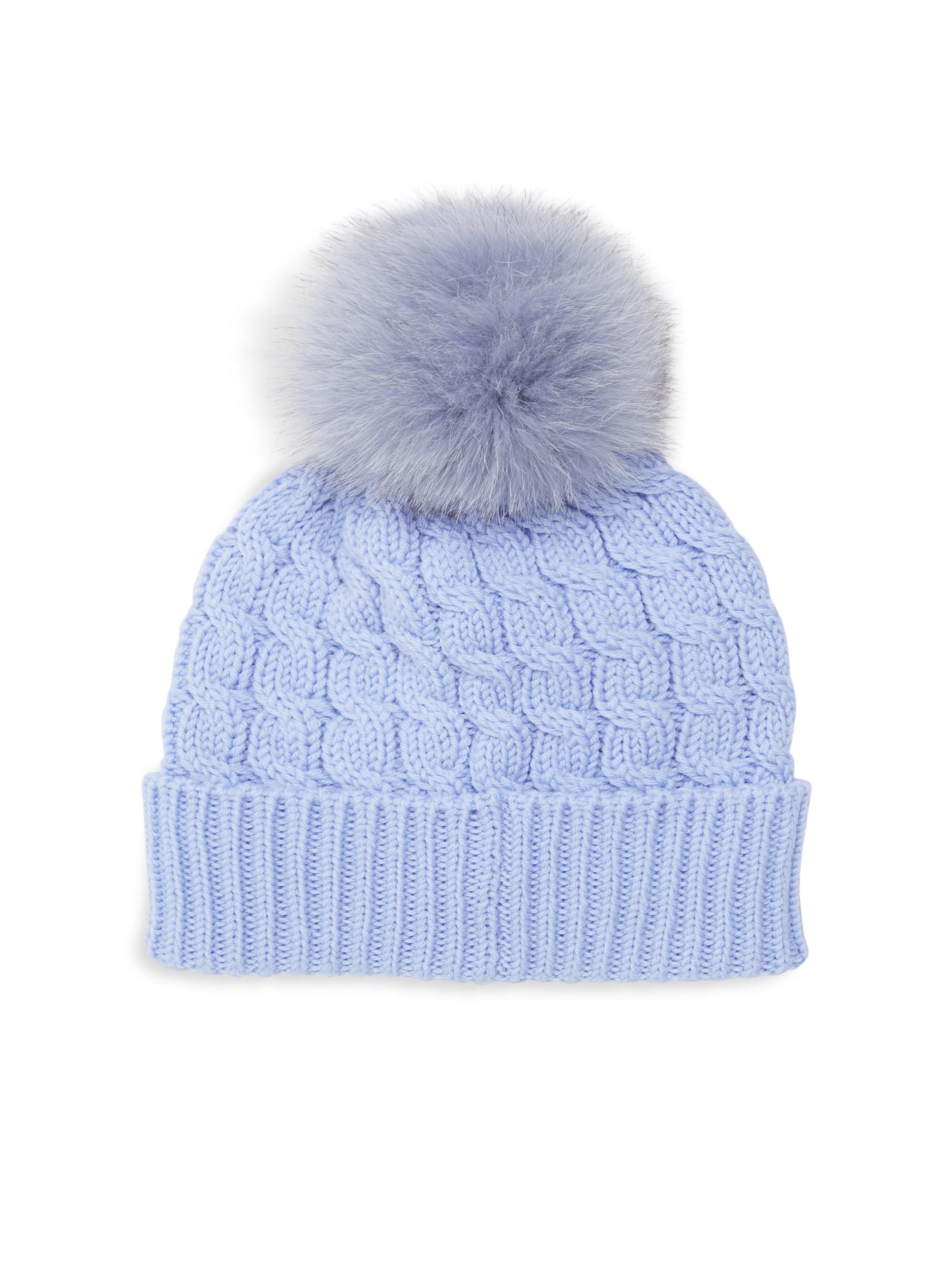 b2aaa48771c Moncler Grenoble Fox Fur Pom Pom Wool Beanie in Blue - Lyst