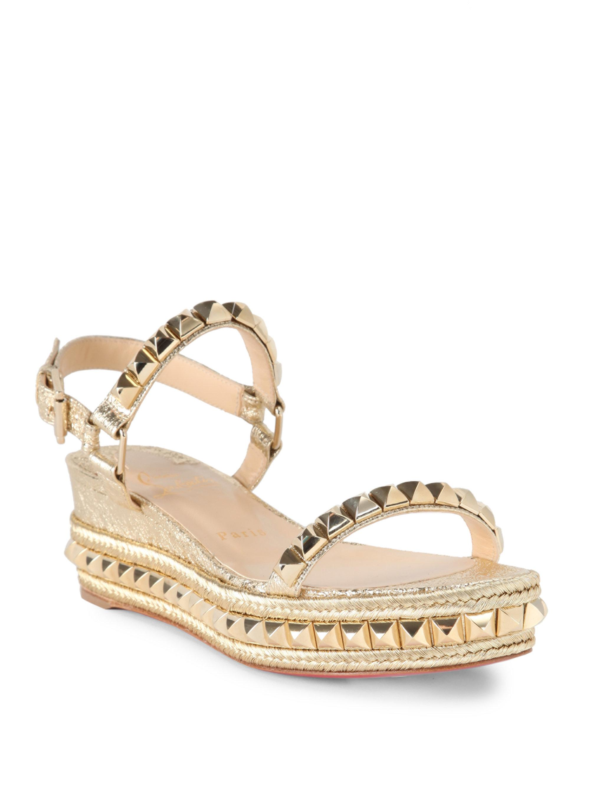 huge discount 574a3 07c9c Christian Louboutin Cataclou 60 Studded Metallic Leather Espadrille Wedge  Sandals