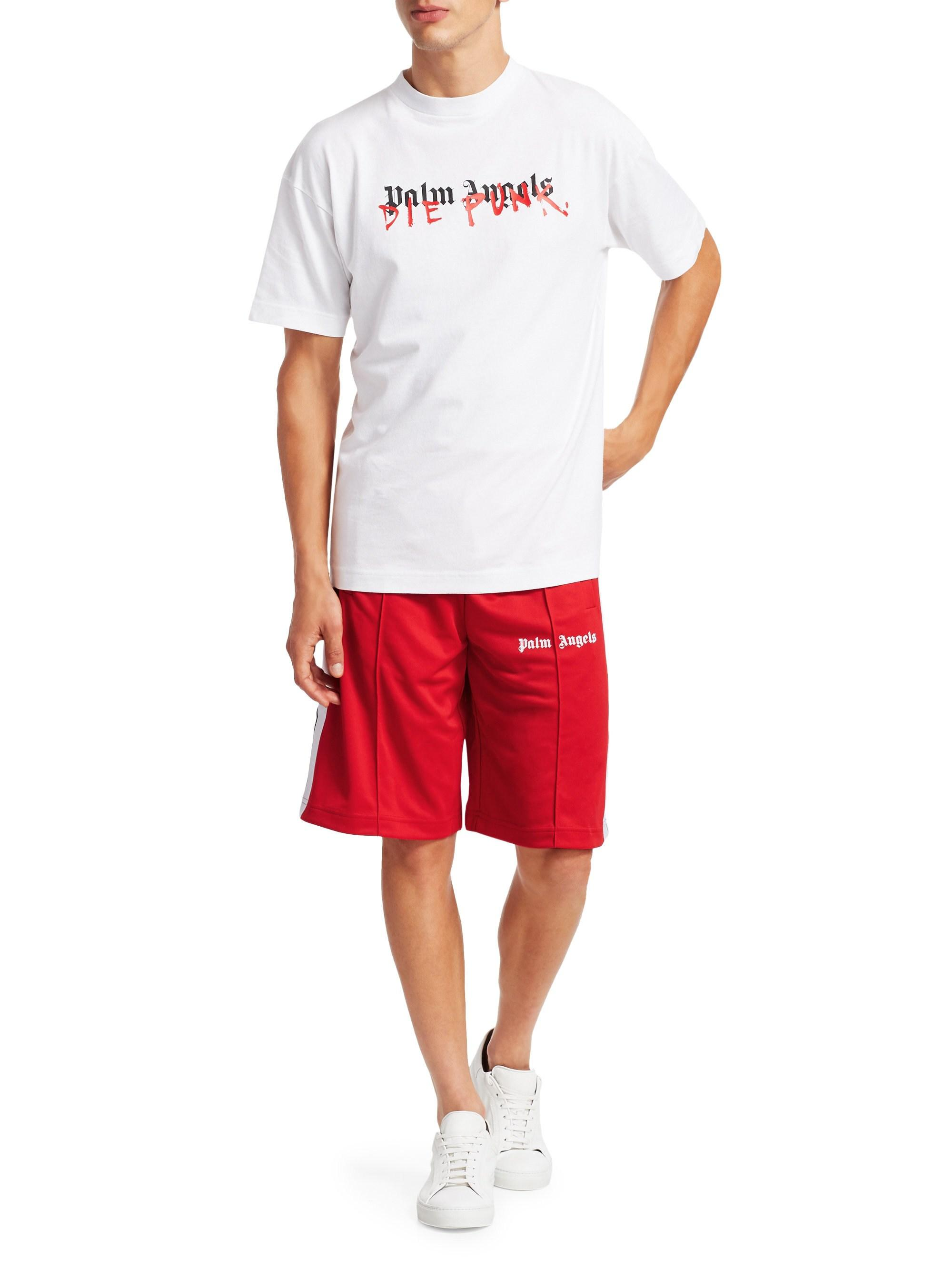 b53ded737c Palm Angels Side Stripe Track Shorts in Red for Men - Lyst